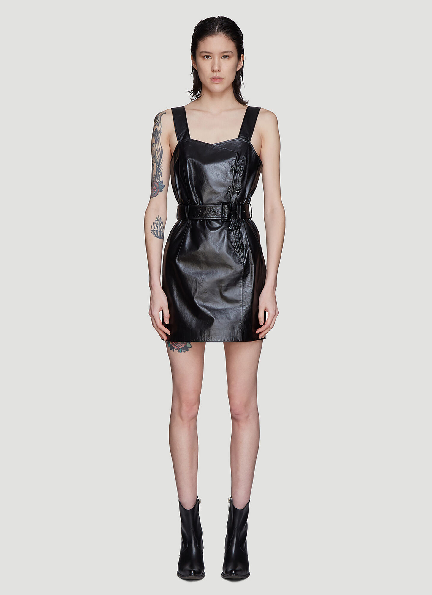 Olivier Theyskens Belted Hook and Eye Leather Dress in Black