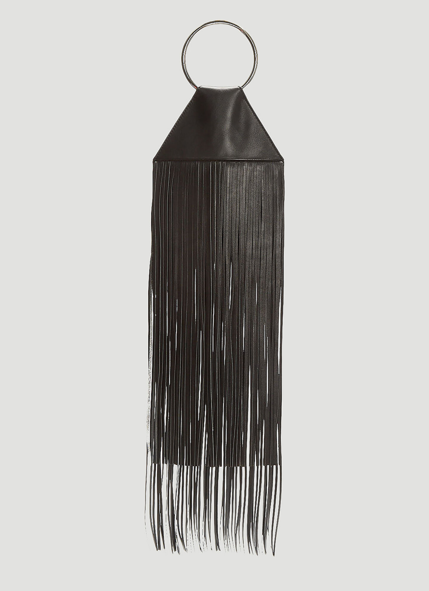 Kara Fringe Pouch Bag in Black