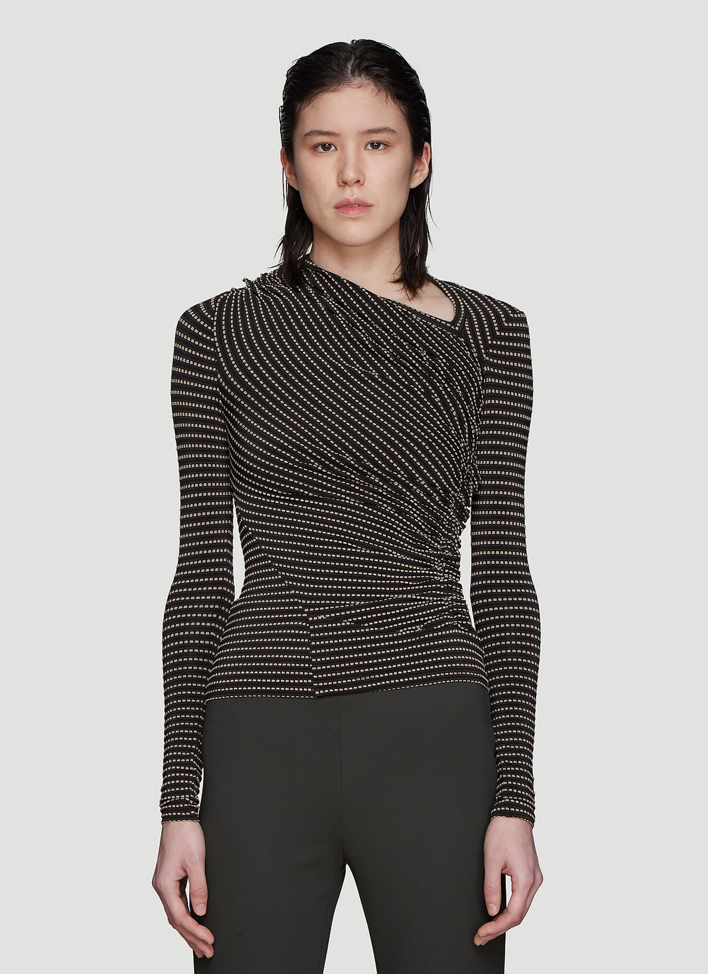 Atlein Jacquard Point Top in Black