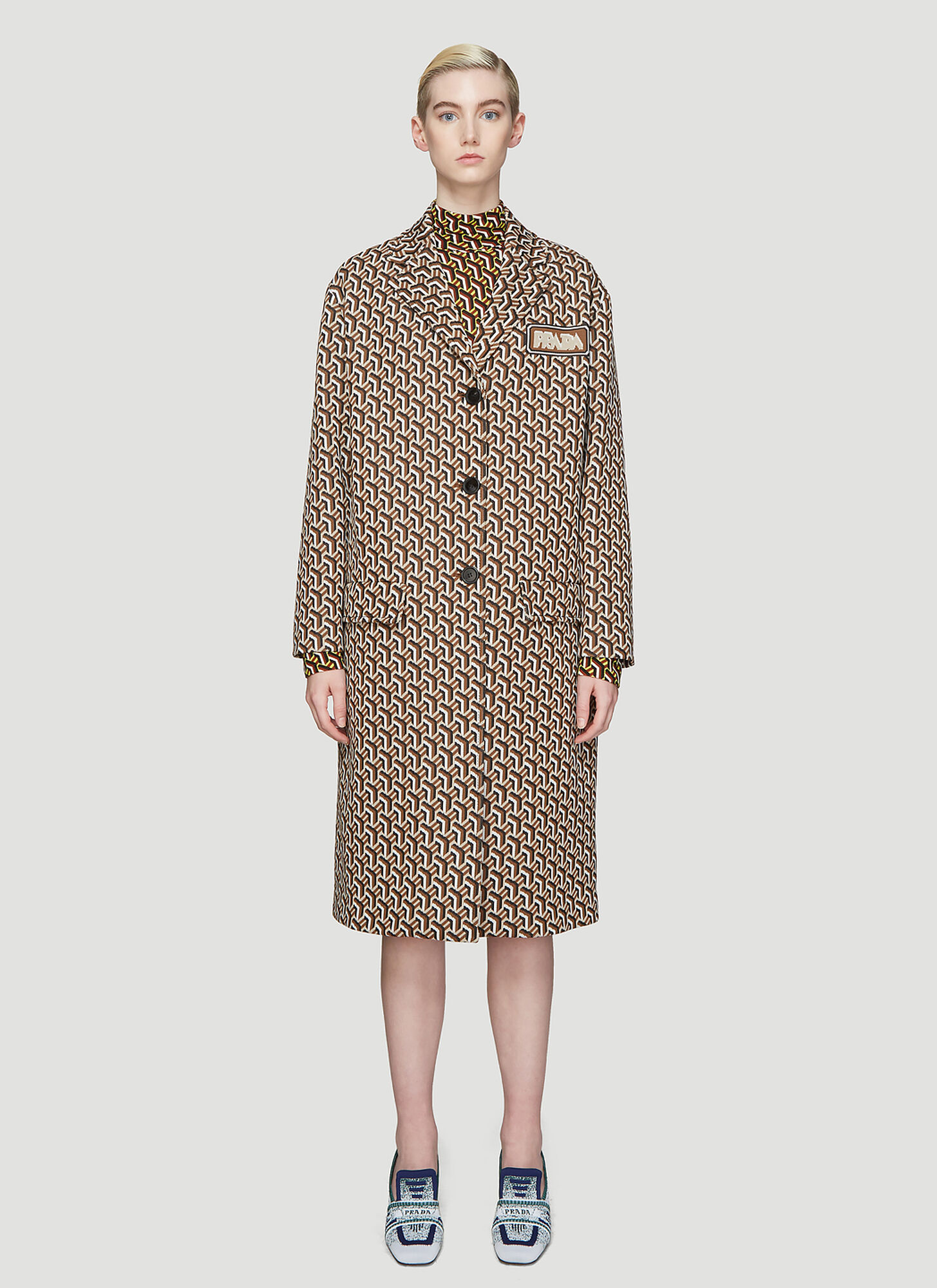 Prada Geometric Twist Print Jacquard Coat in Brown