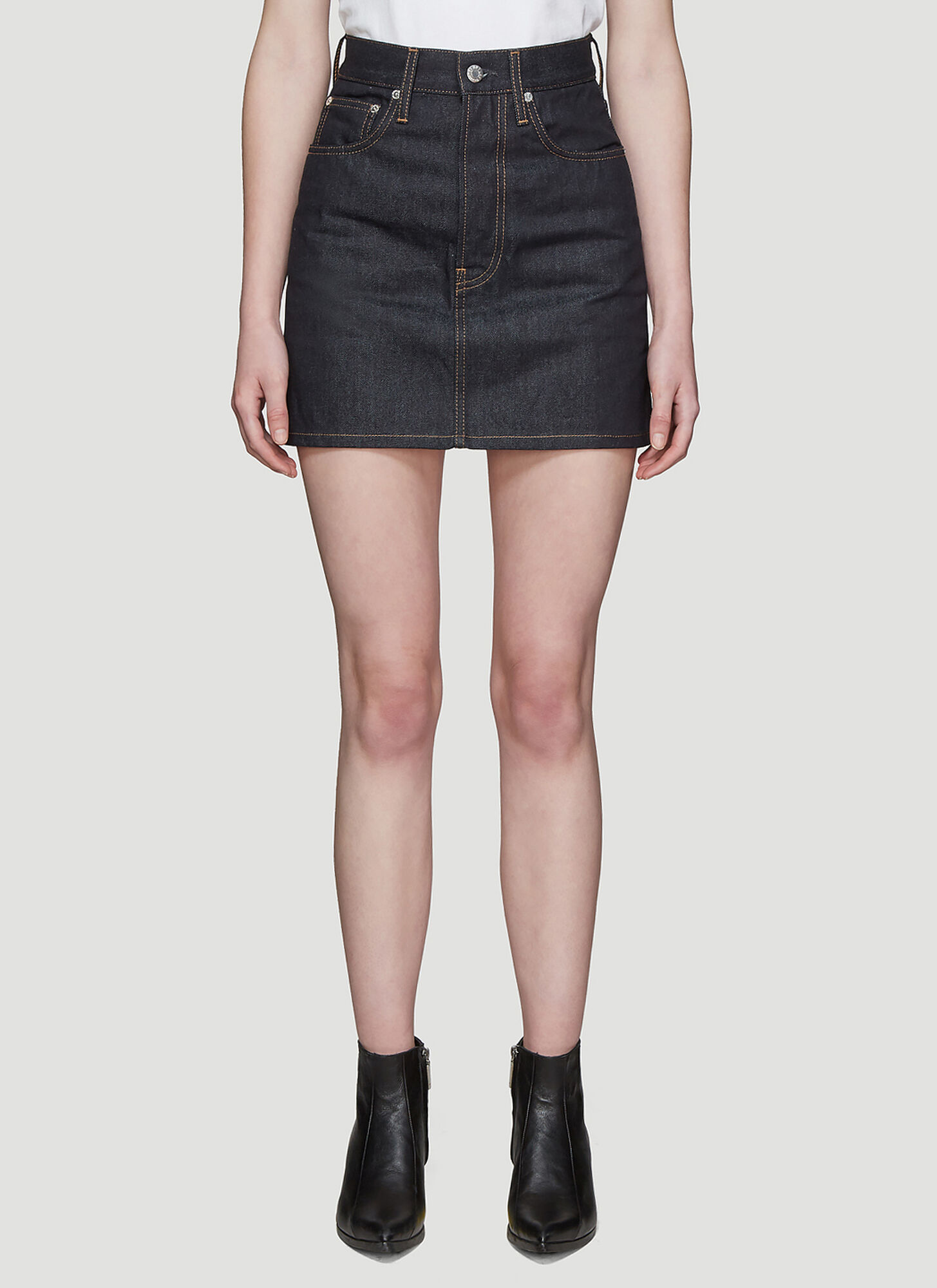 Helmut Lang Classic 5 Pocket Denim Mini Skirt in Blue