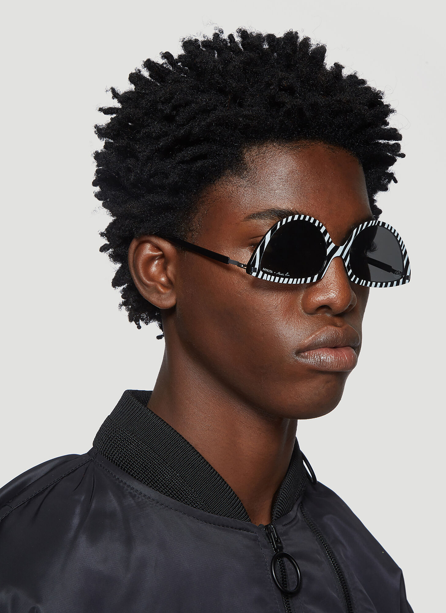 Mykita X Martine Rose Striped Cat Eye Sunglasses in Black size One Size