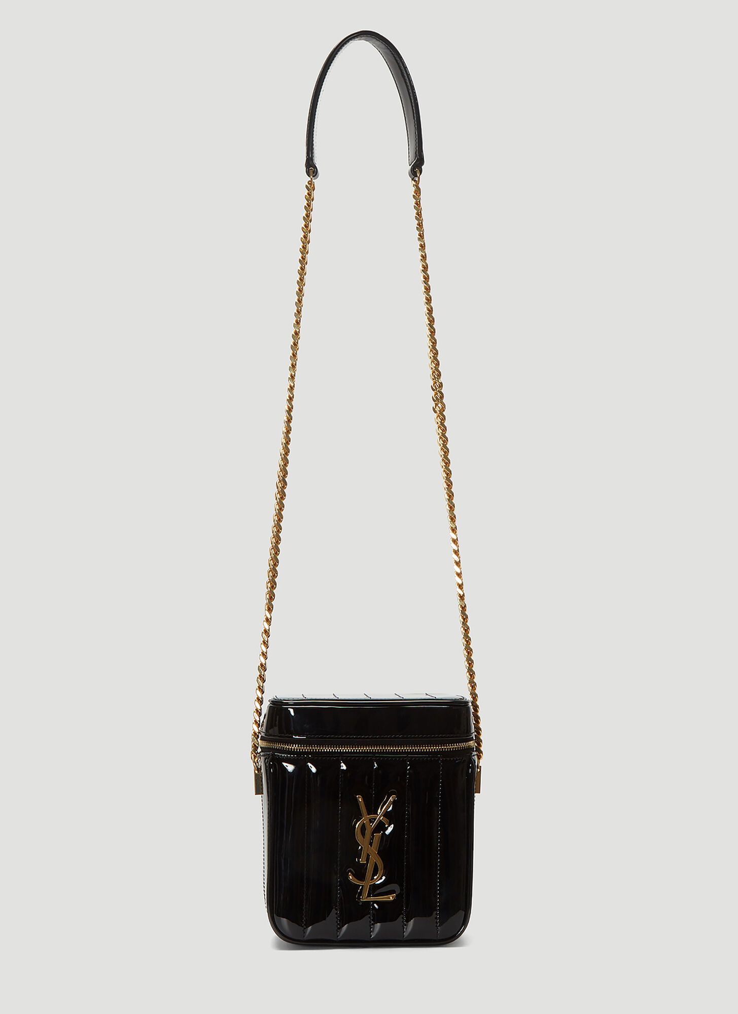 Photo of Saint Laurent Patent Vicky Bag in Black - Saint Laurent Shoulder Bags