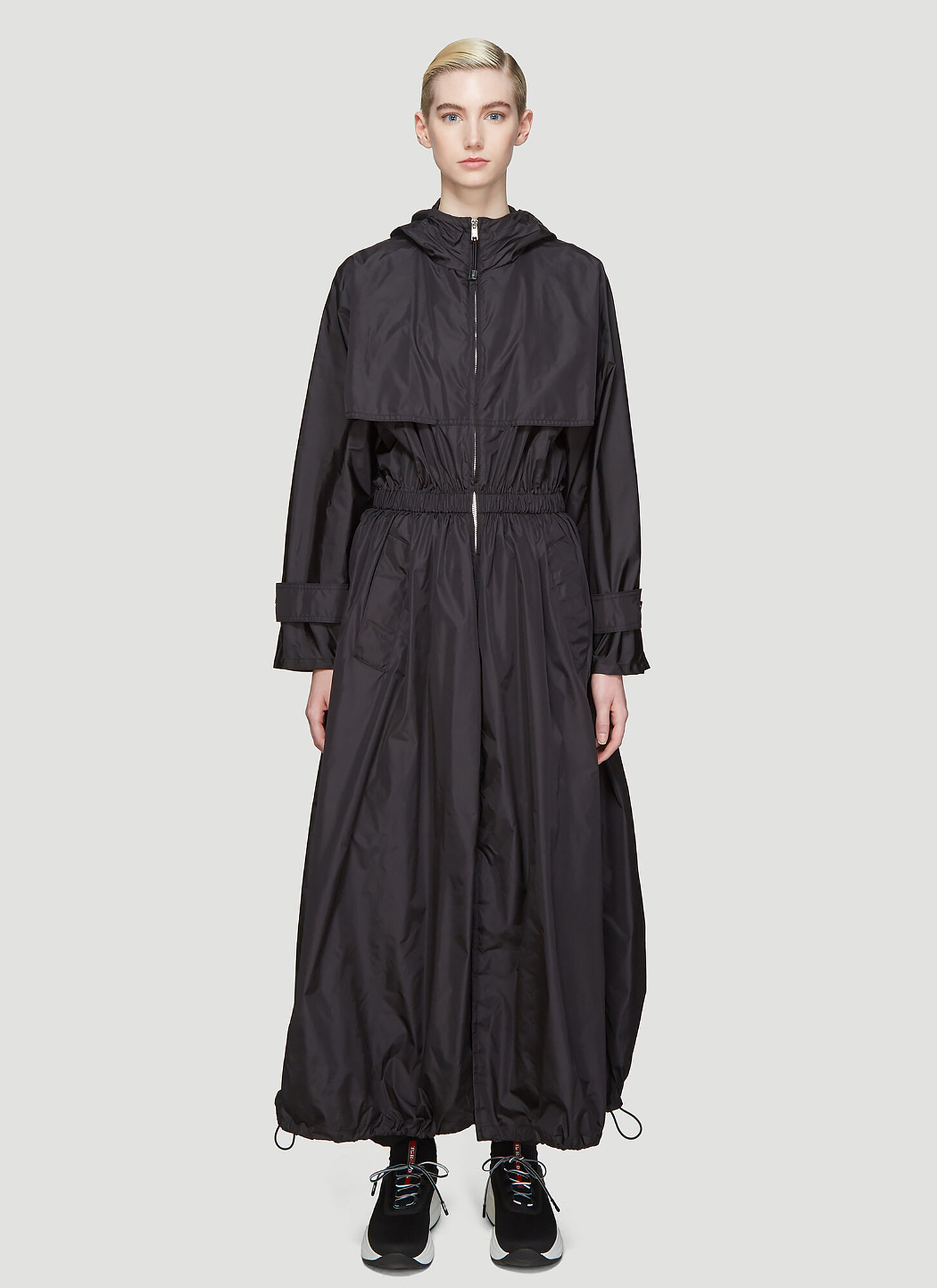 Prada Hooded Nylon Parachute Coat in Black
