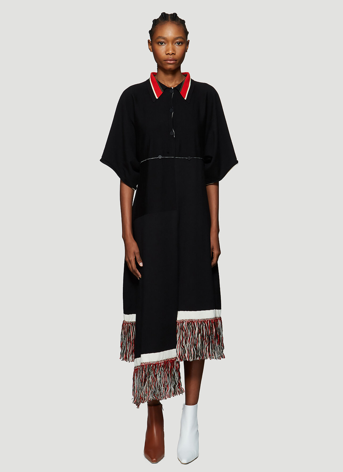 JW Anderson Fringed Hem Knitted Dress in Black