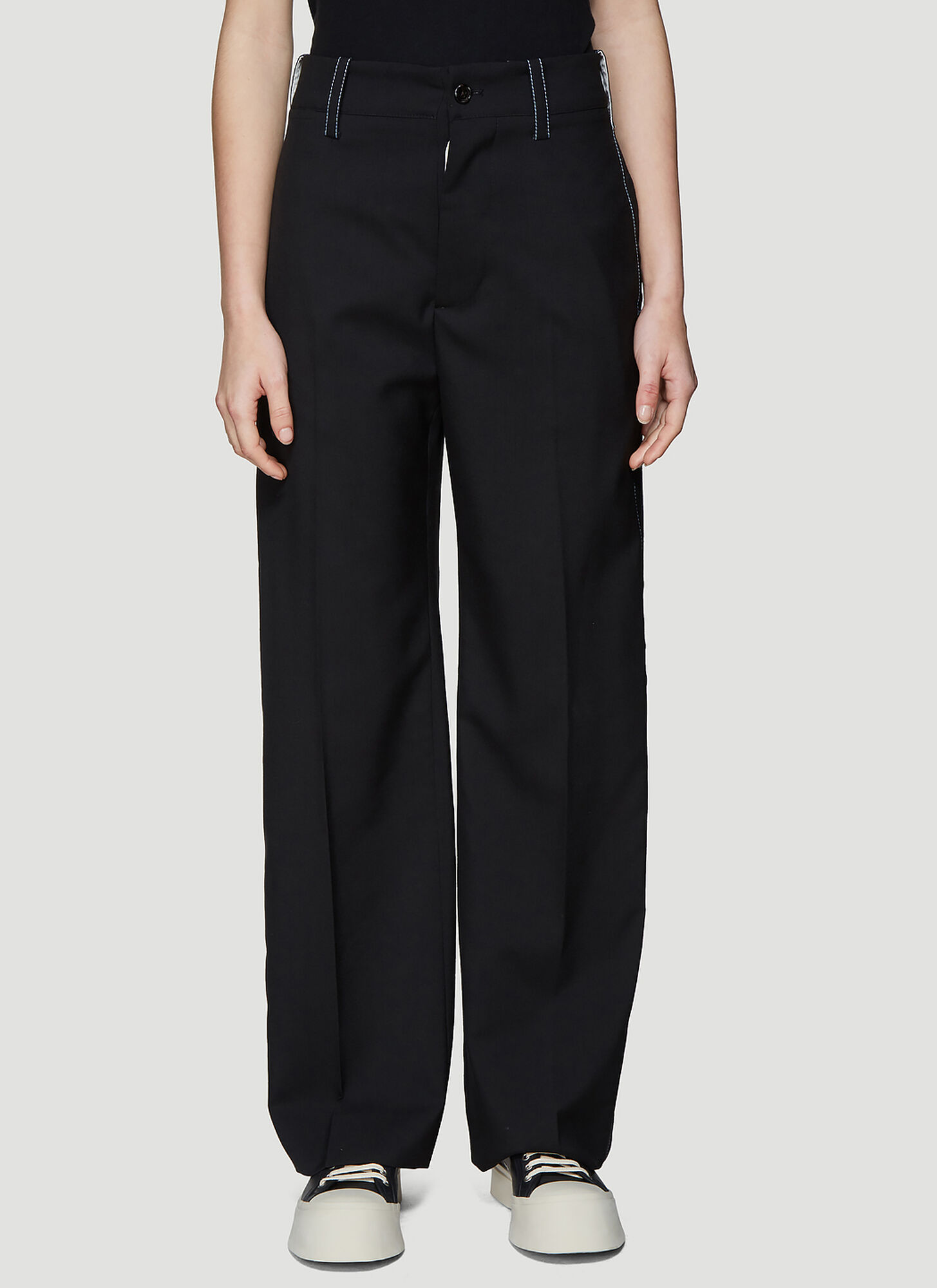 Marni Tropical Wool Tailored Pants in Black