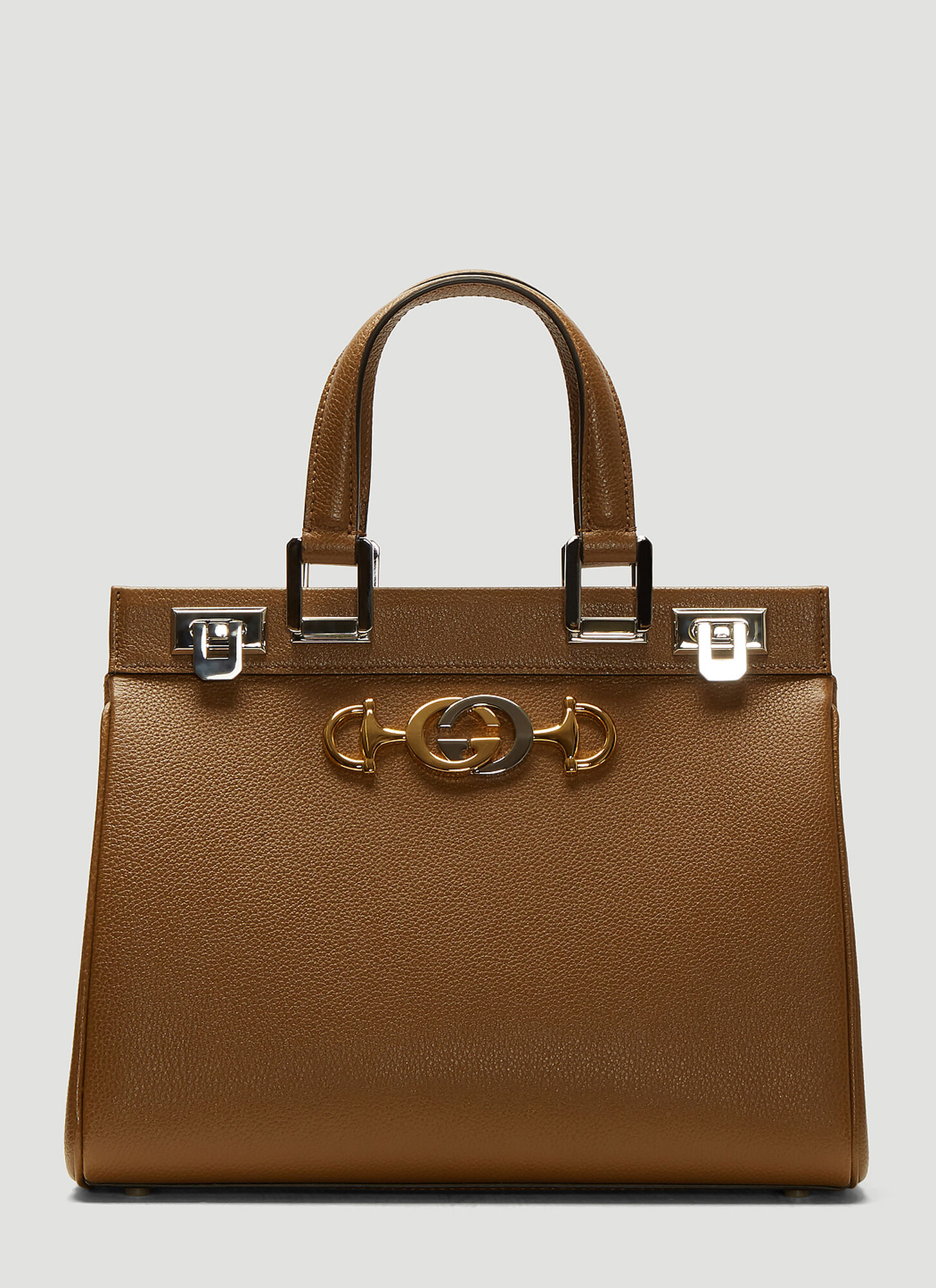 Gucci Zumi Top Handle Leather Bag in Brown