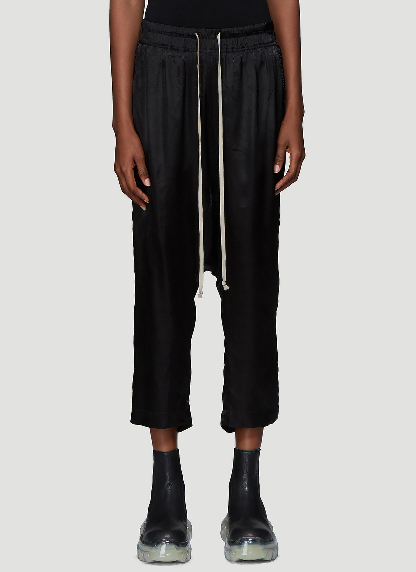 Rick Owens Dropped Crotch Satin Pants in Black