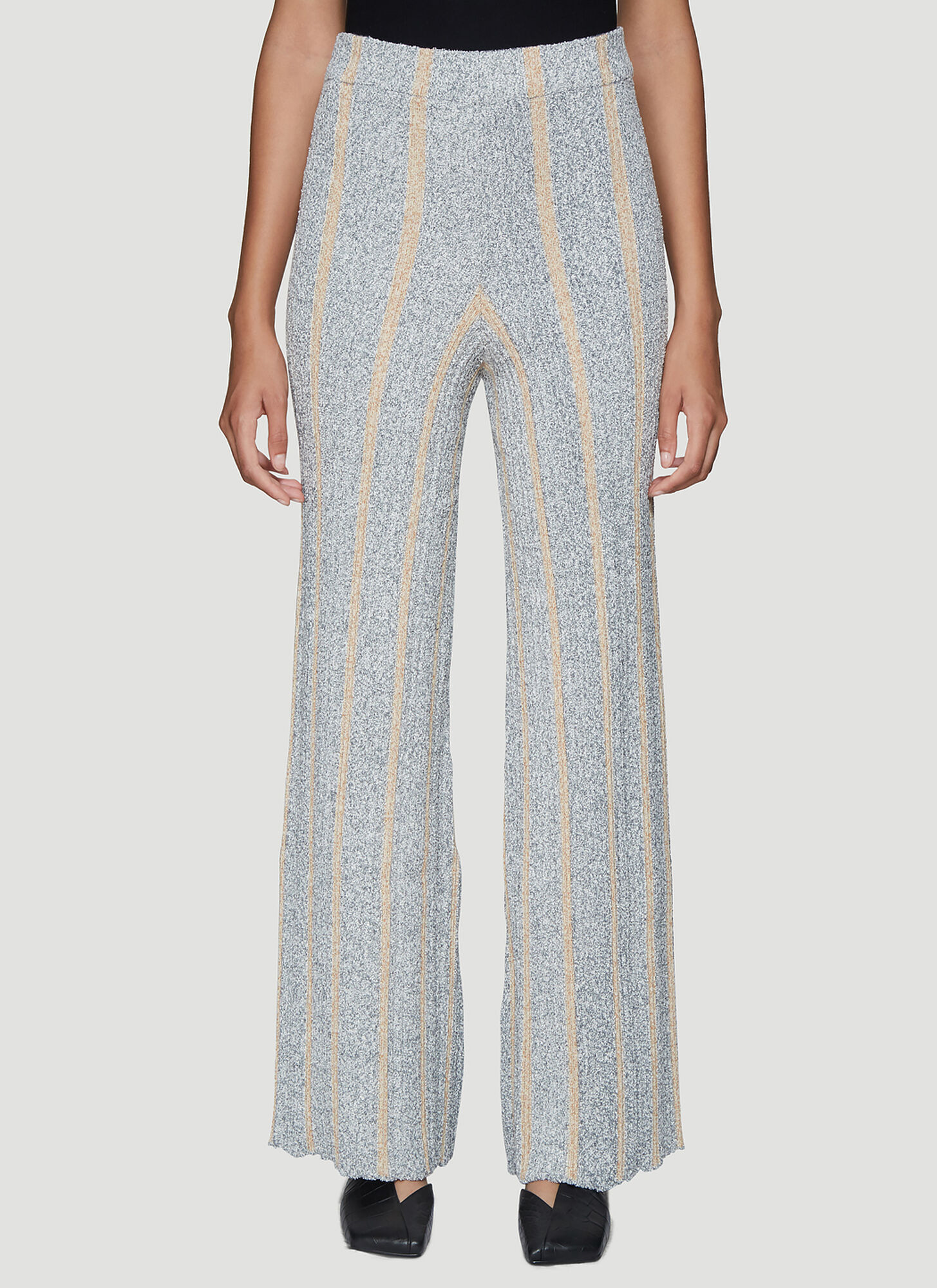 Jil Sander Ribbed Knitted Pants in Grey