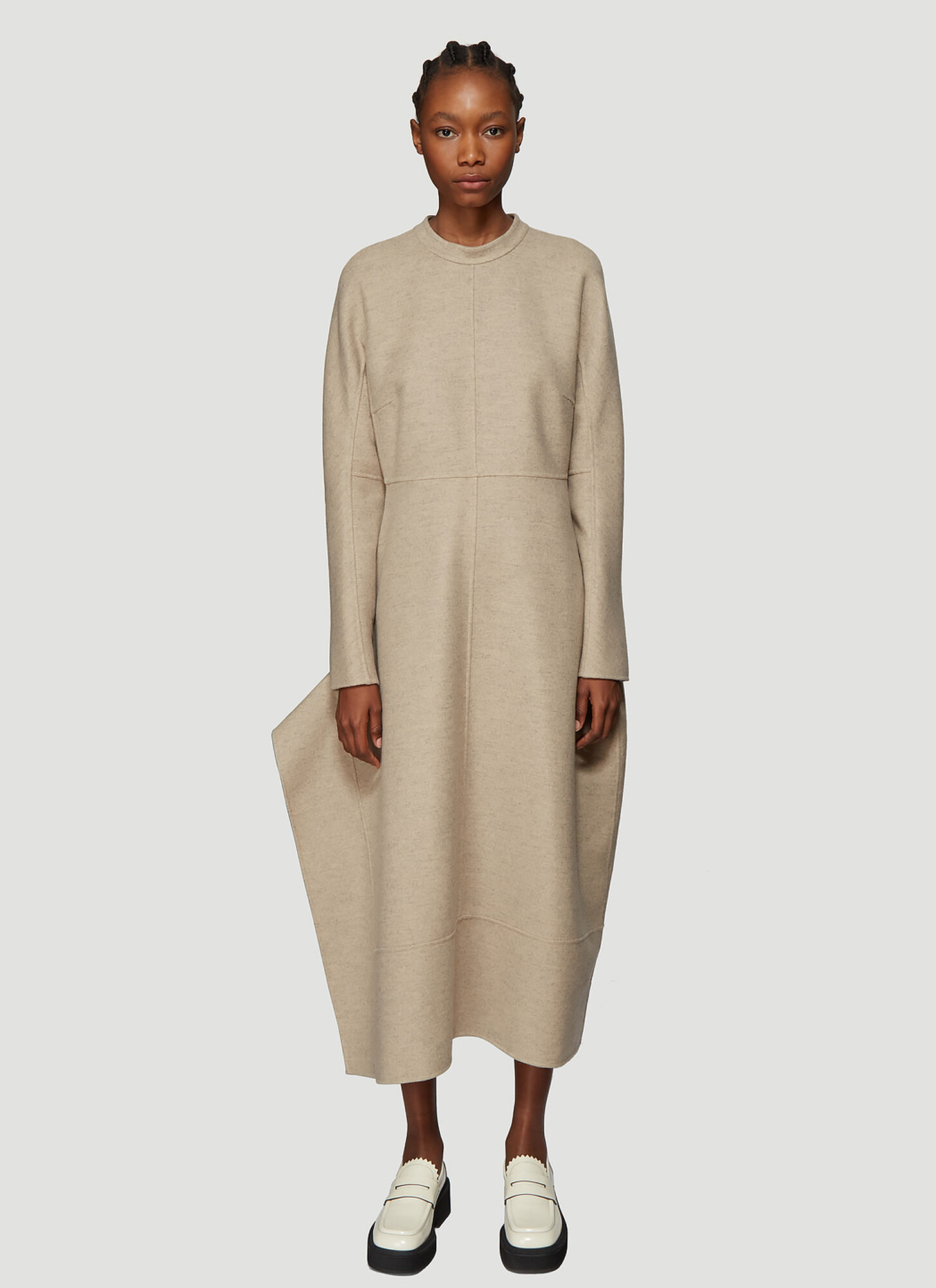 Jil Sander Leven Felted-Wool Dress in Beige