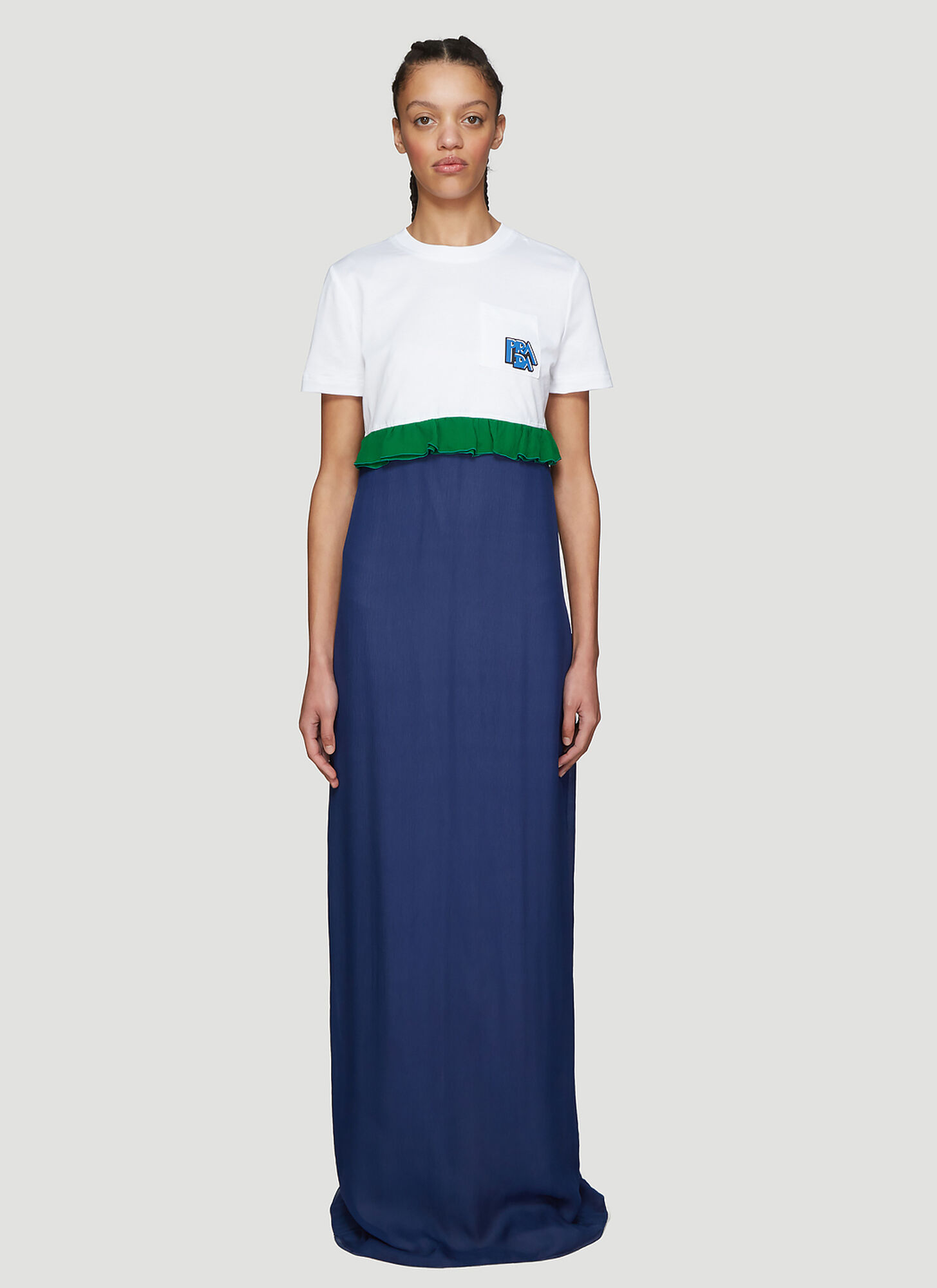 Prada Ruched T-shirt Chiffon Dress in Blue