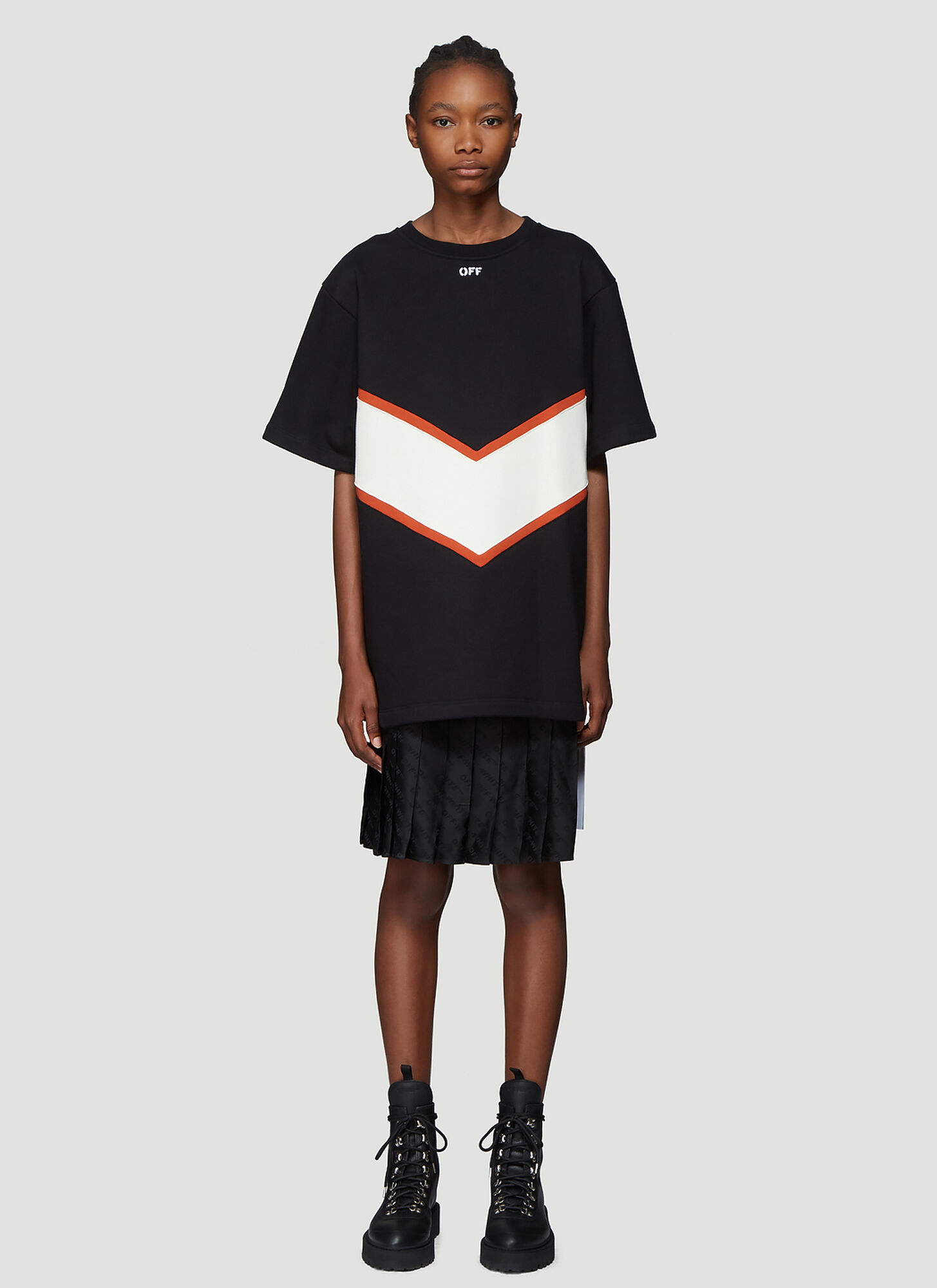 Off-White Intarsia Sweatshirt Dress in Black