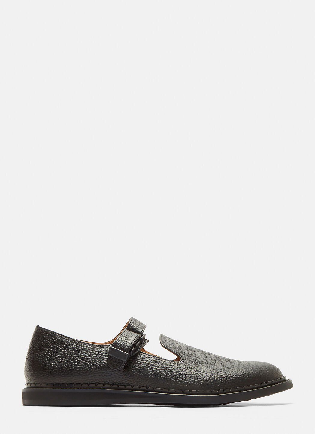 HENDER SCHEME Neo Strap Leather Shoes in Black