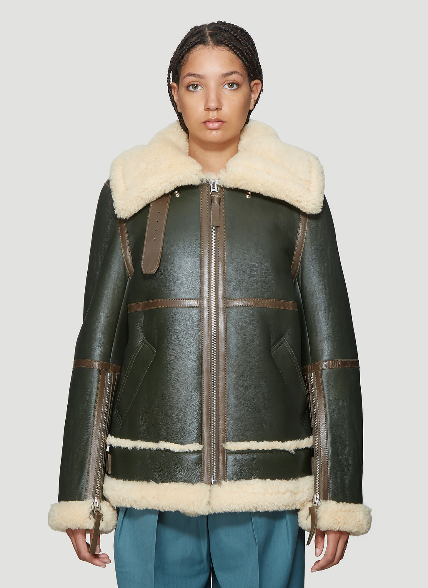 Acne Studios Long Raf Shearling Jacket in Green