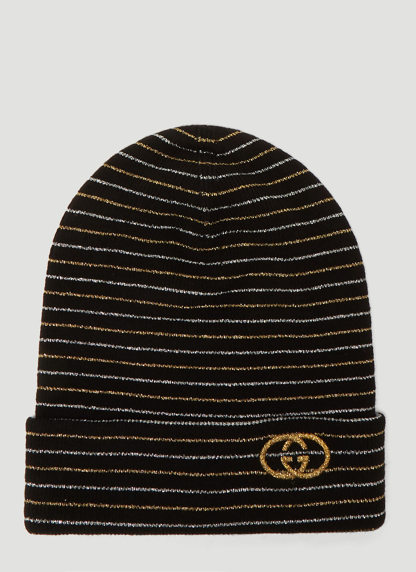 Gucci Metallic Stripe Beanie Hat in Black
