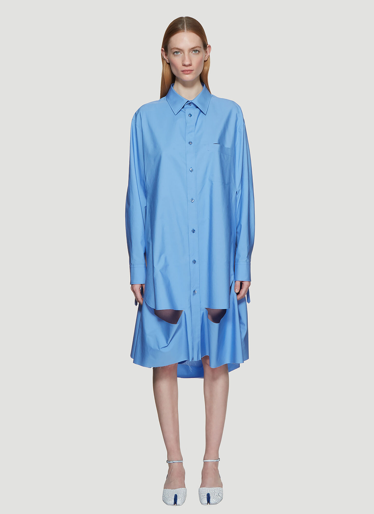 Maison Margiela Oversized Deconstructed Shirt in Blue