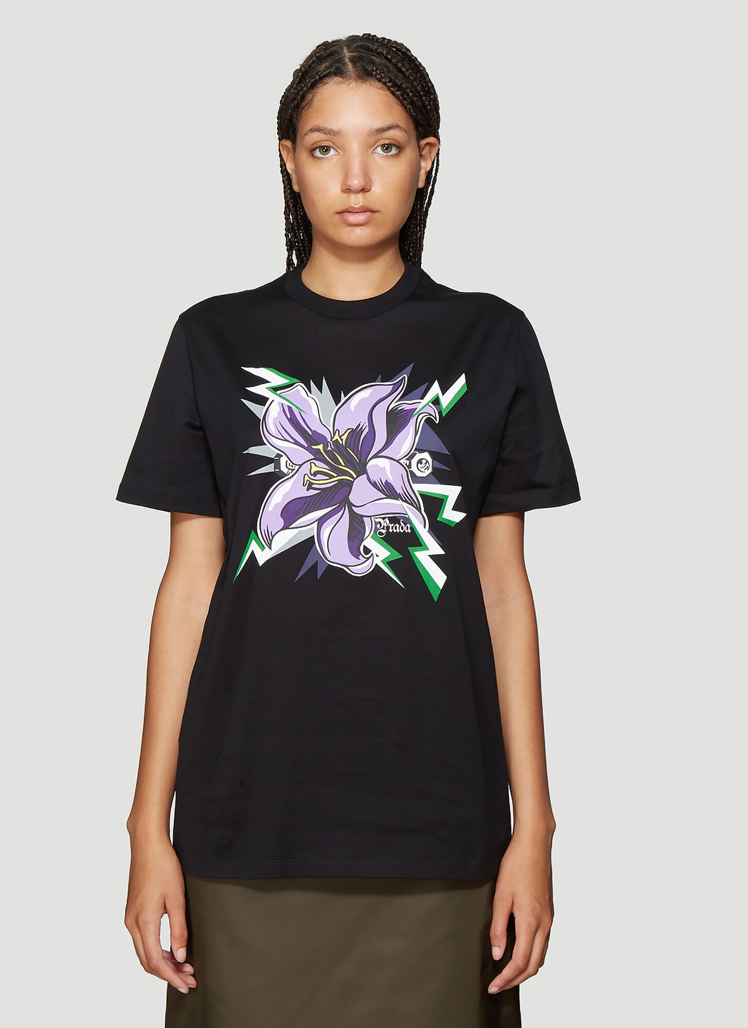 Prada Flower Print T-Shirt in Black