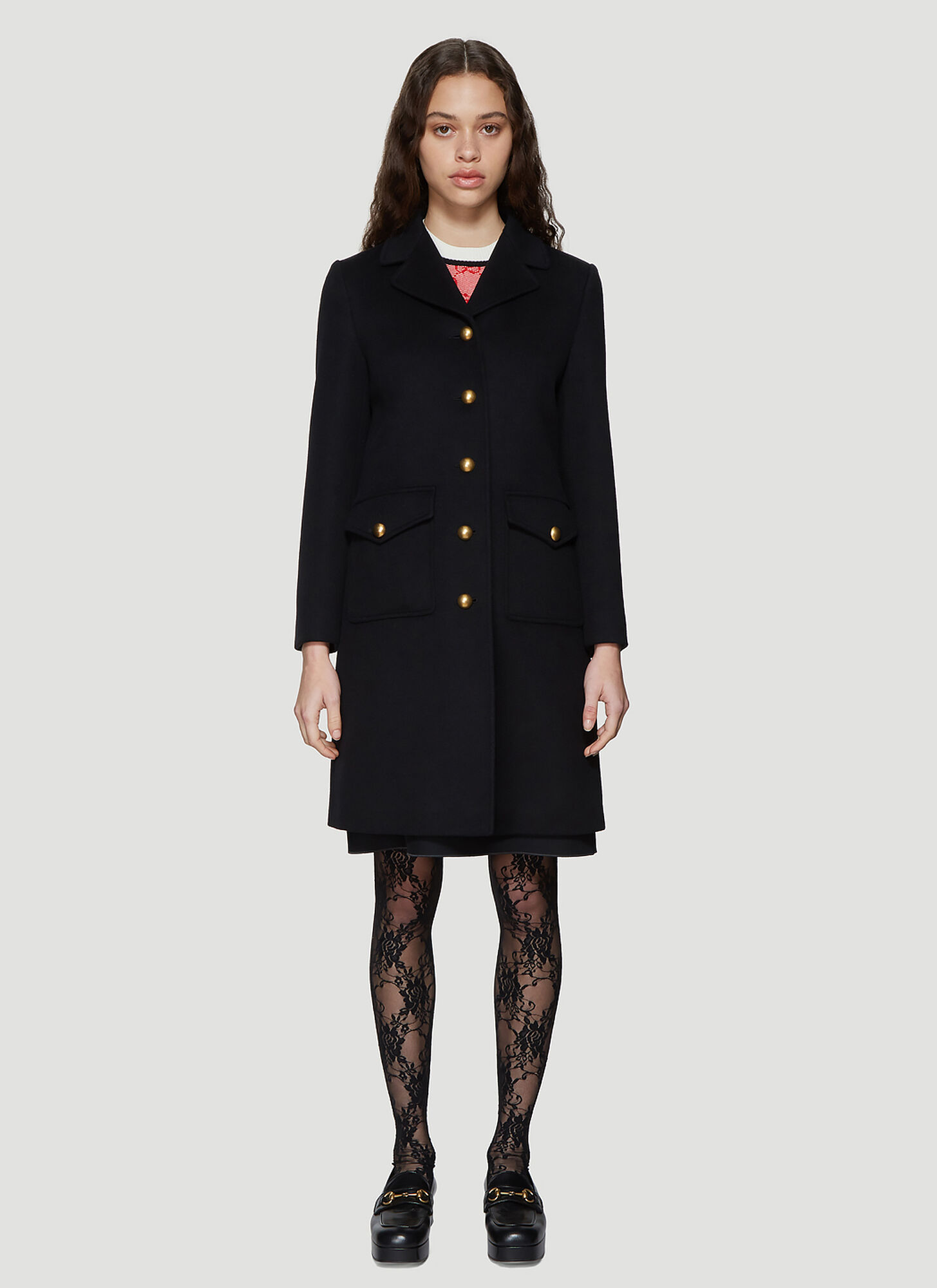 Gucci Classic Tailored Wool Coat in Black