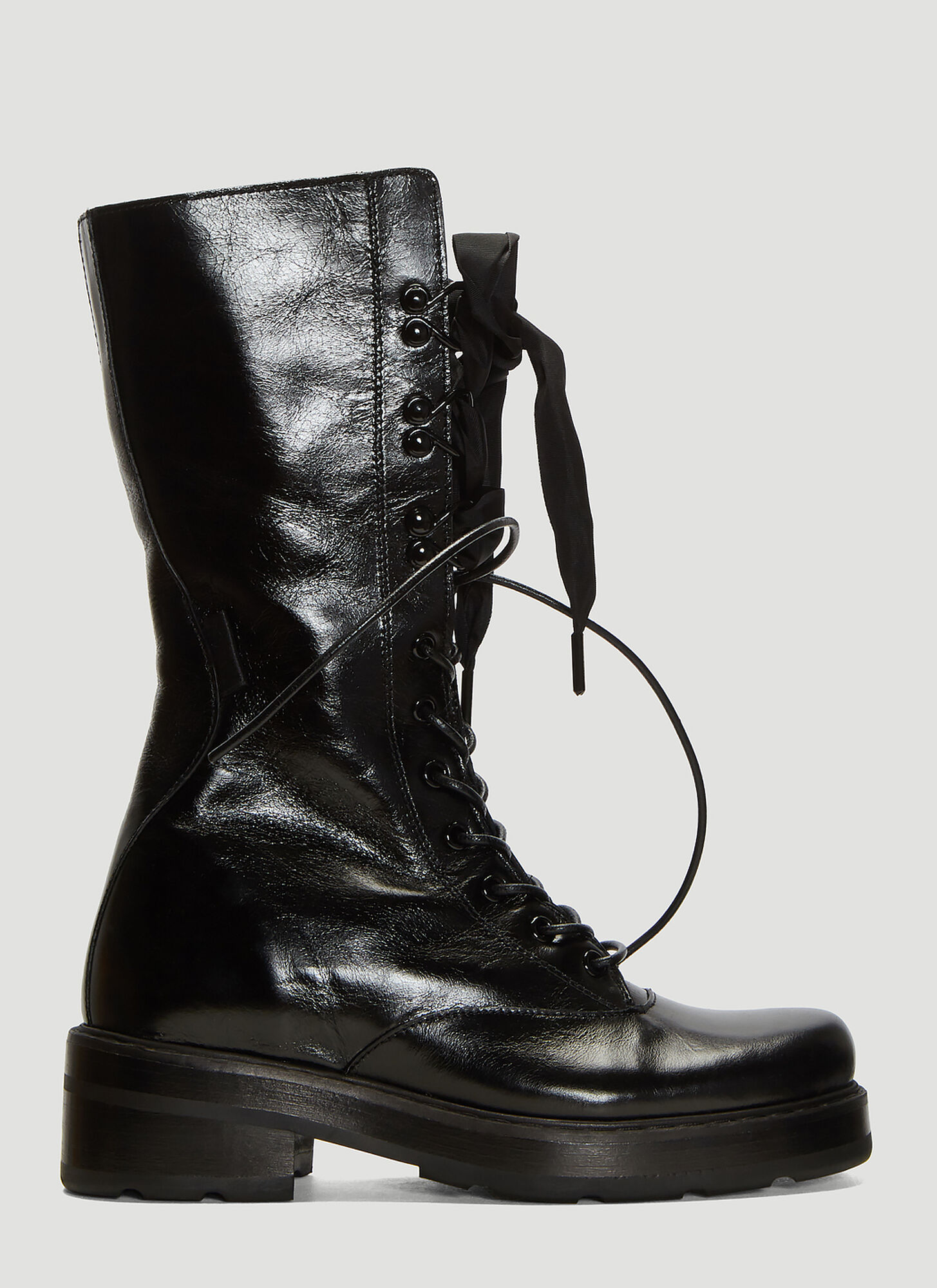 Olivier Theyskens Cracked Leather Lace-Up Boots in Black