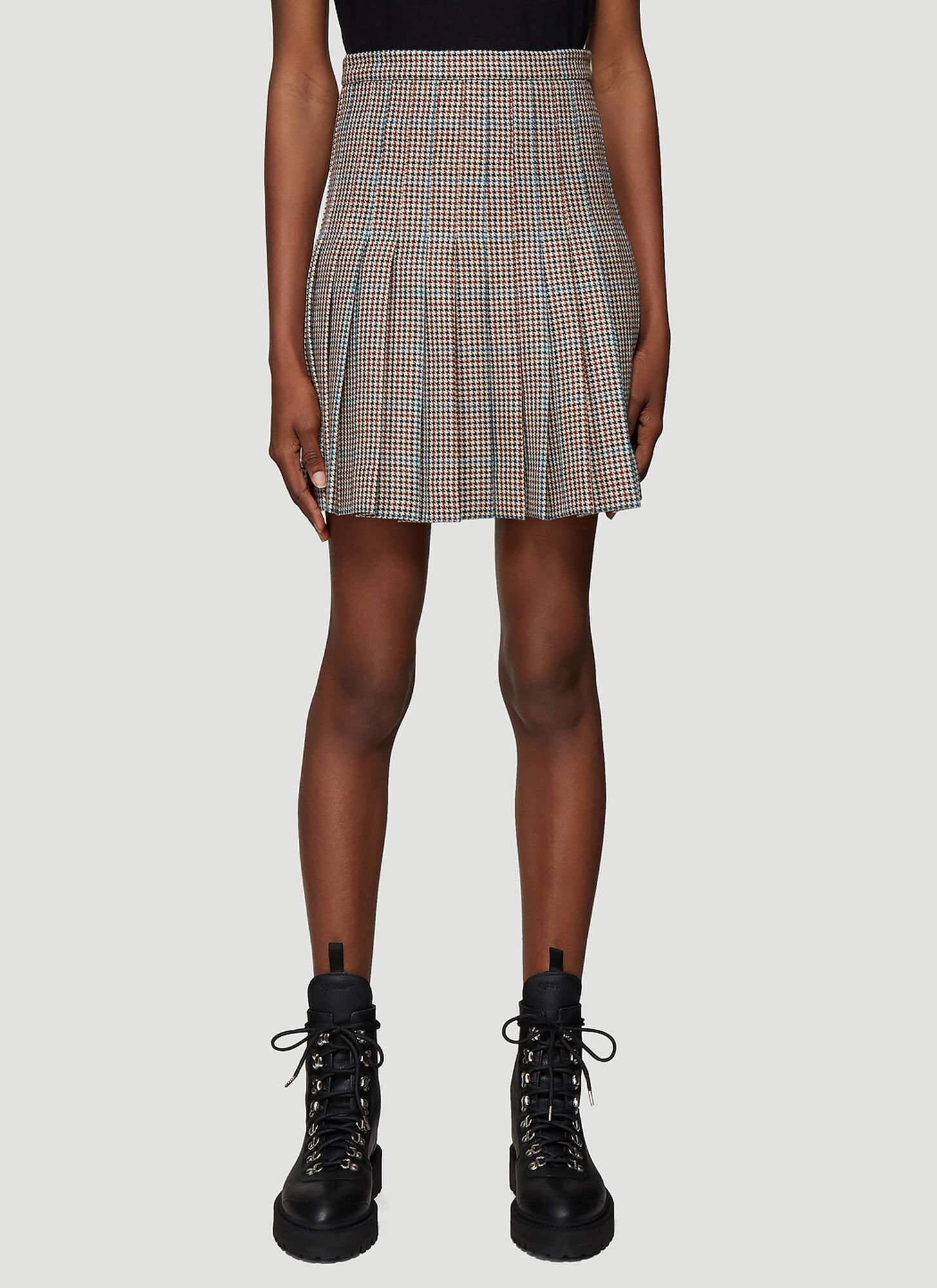 Off-White Houndstooth Pleated Mini Skirt in Brown