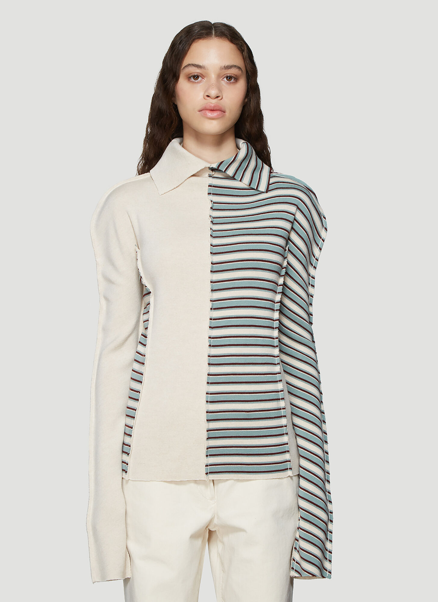 Jil Sander Stripe Knit Sweater in Sand and Blue