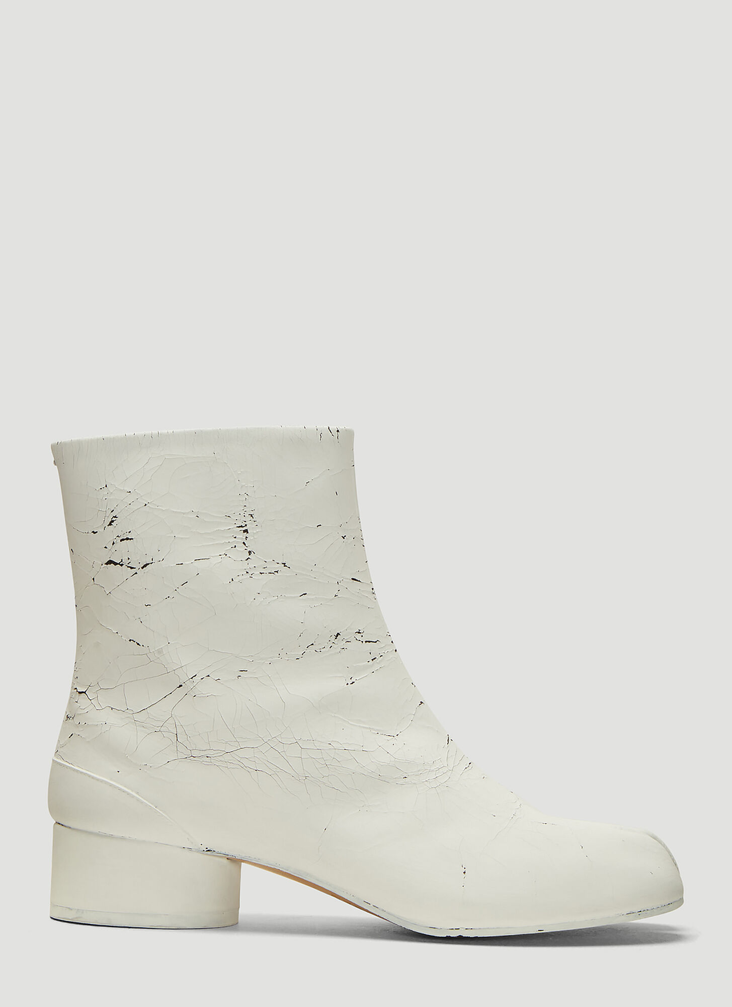 Maison Margiela Cracked Paint Tabi Ankle Boots in White