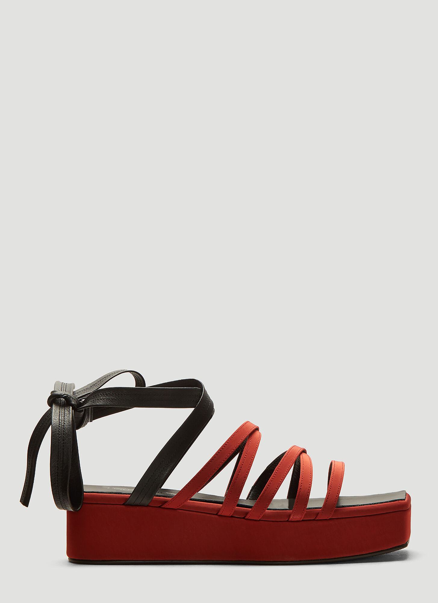 Flat Apartment Square Toe Flatform Sandals in Red