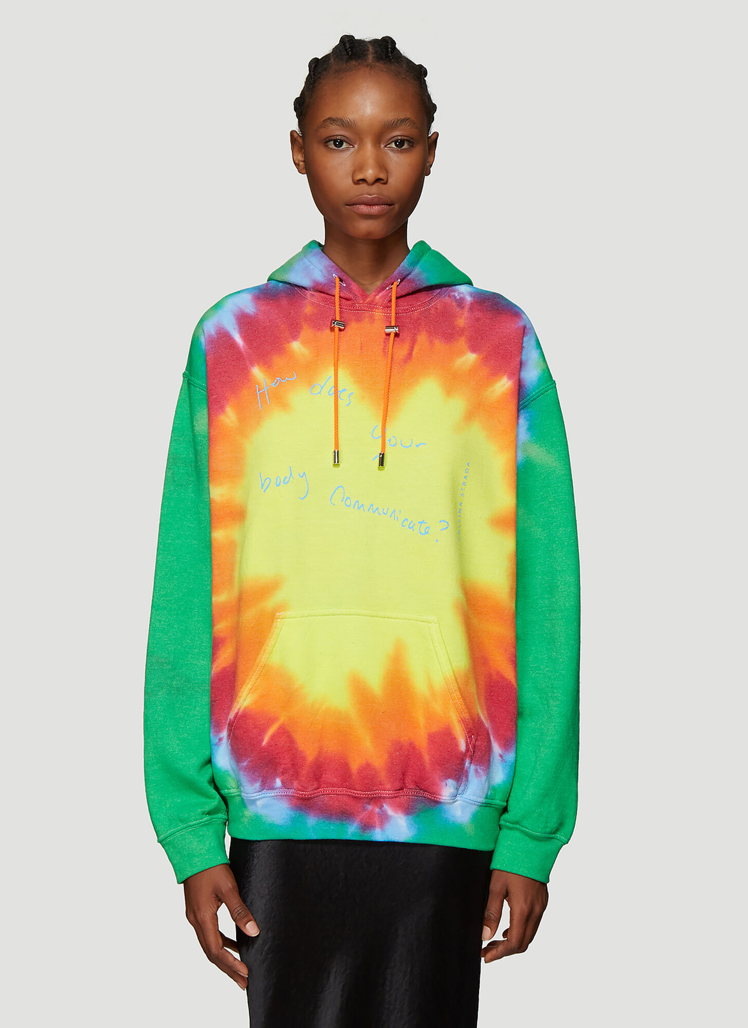 Collina Strada Tie Dye Body Communicate Hooded Sweatshirt in Orange
