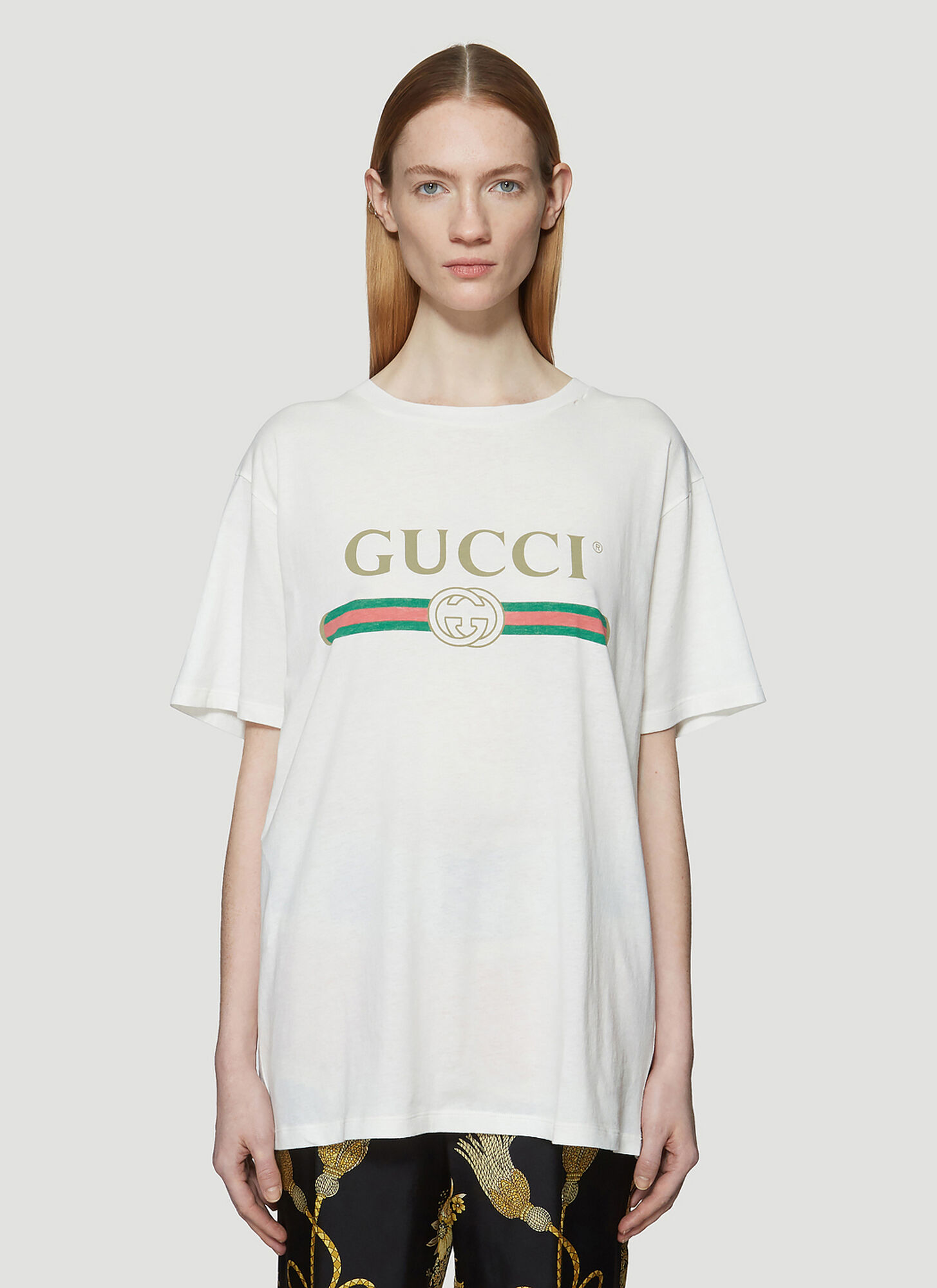 Gucci Gucci Logo Print Faded Cotton T-Shirt in White
