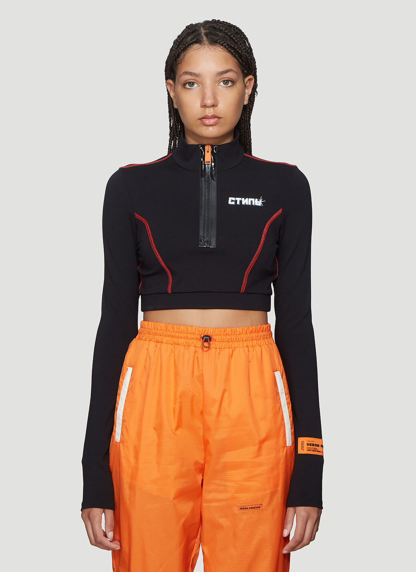 Heron Preston Logo Patch Turtleneck Top in Black
