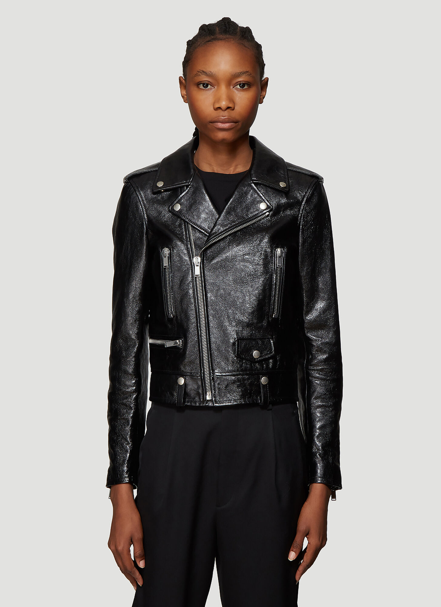 Saint Laurent Motorcycle Leather Jacket in Black