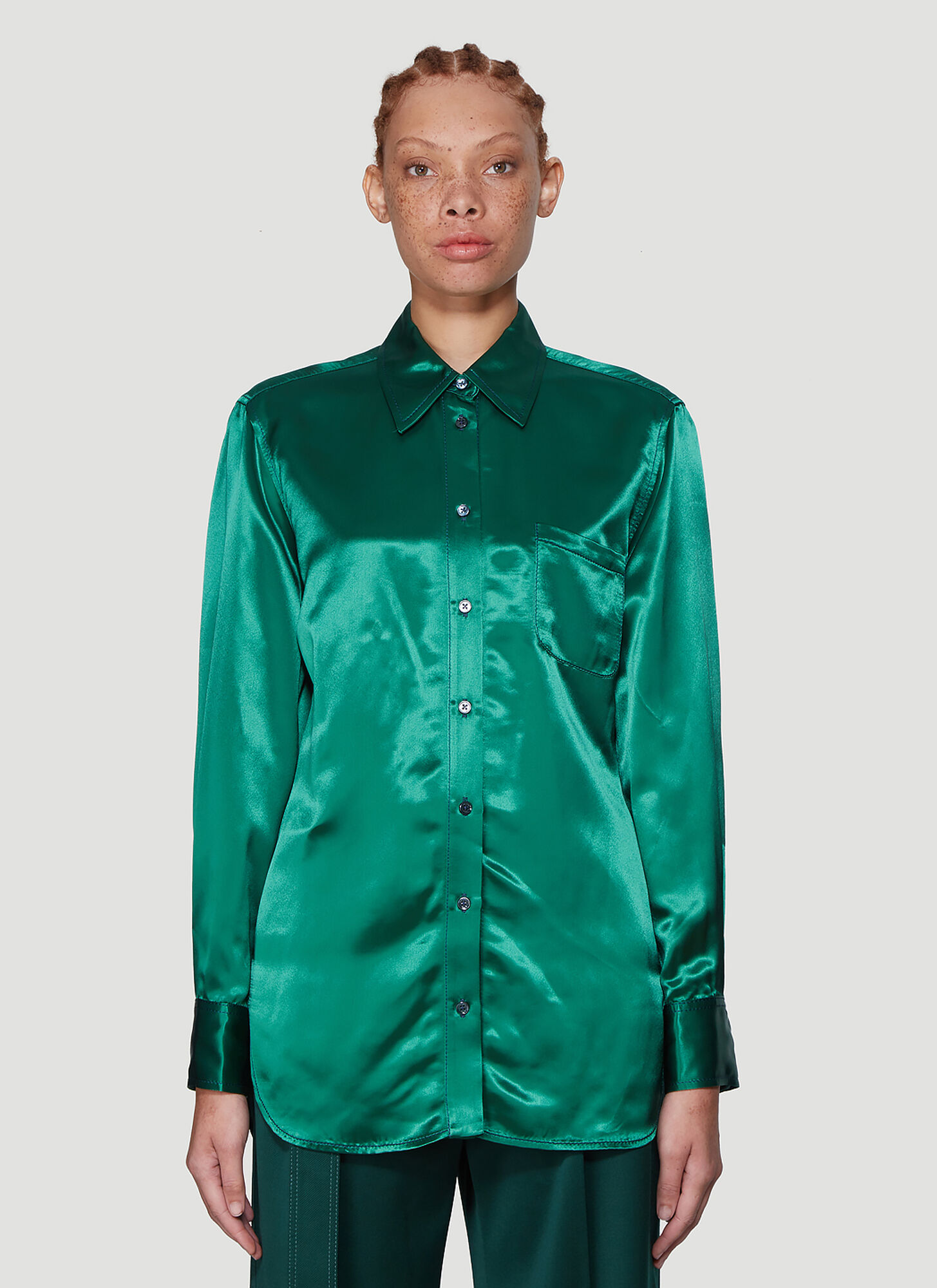 Sies Marjan Sander Satin Shirt in Green