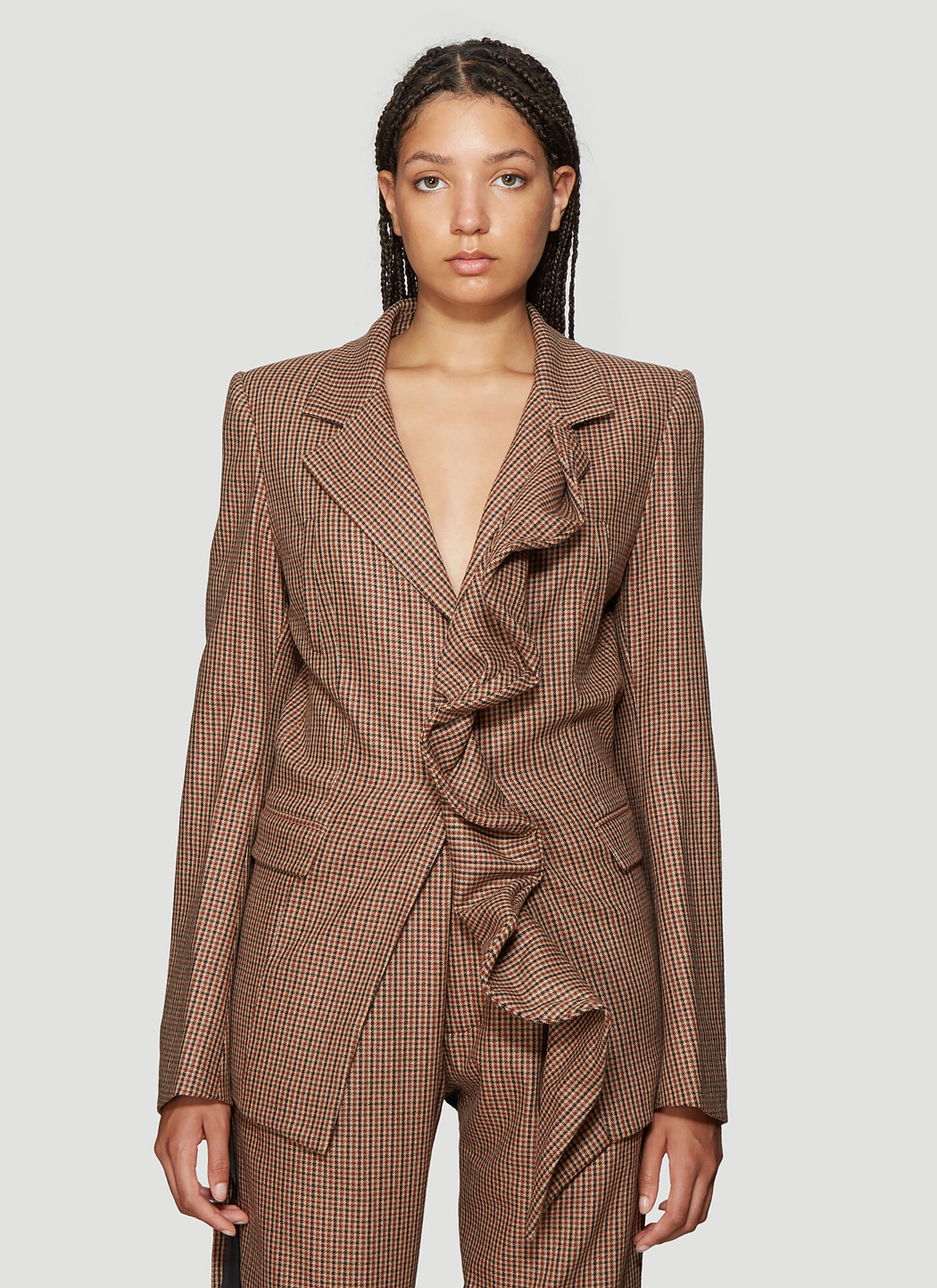 Unravel Project Ruffled Wool Blend Blazer in Brown