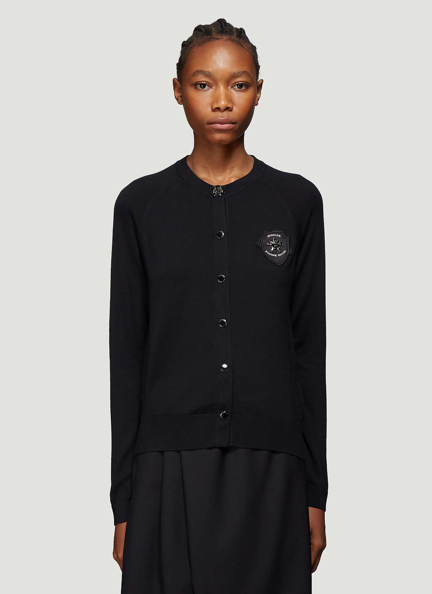 4 Moncler Simone Rocha Logo Patch Wool Cardigan in Black