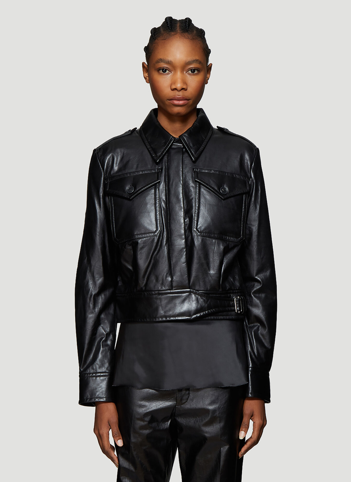 Helmut Lang Chest Pocket Cropped Leather Jacket in Black