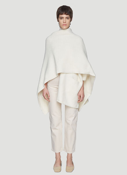 Lauren Manoogian One Sleeve Wrap Poncho in White