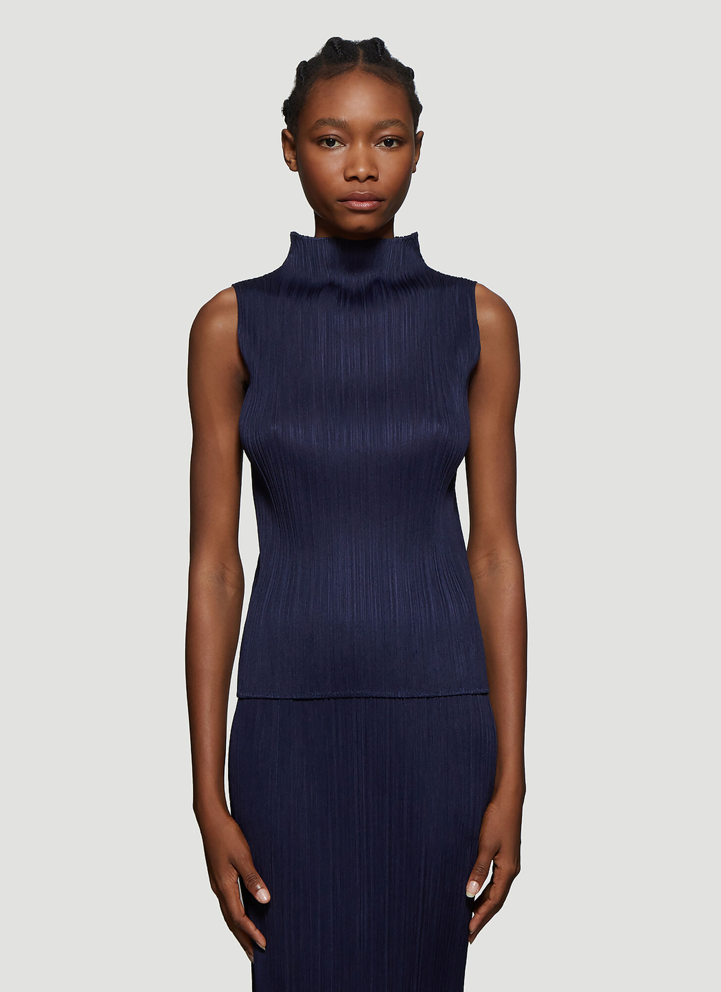 Pleats Please Issey Miyake Basic Pleated Sleeveless Top in Navy