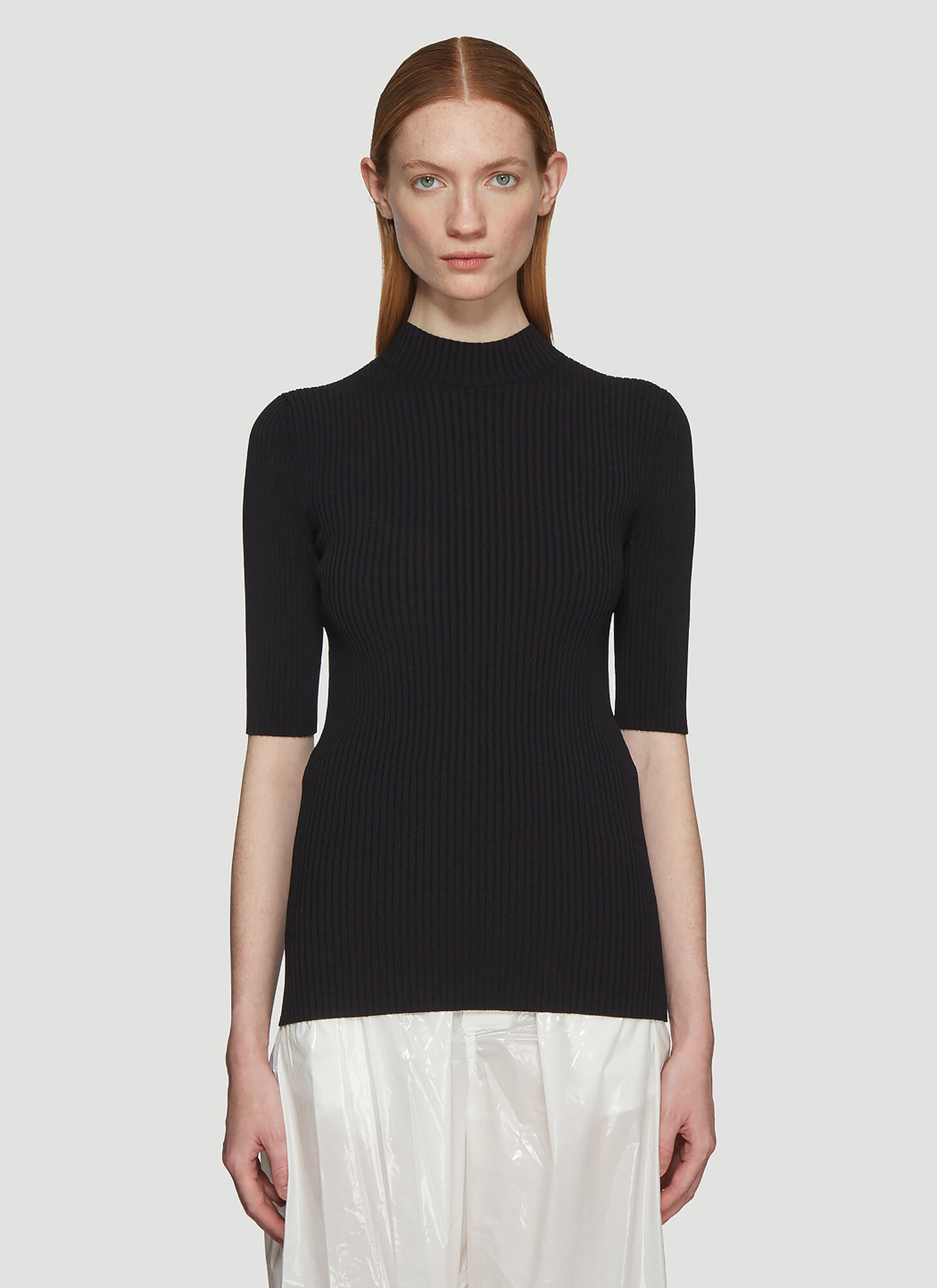 Kwaidan Editions Ribbed Turtleneck Top in Black