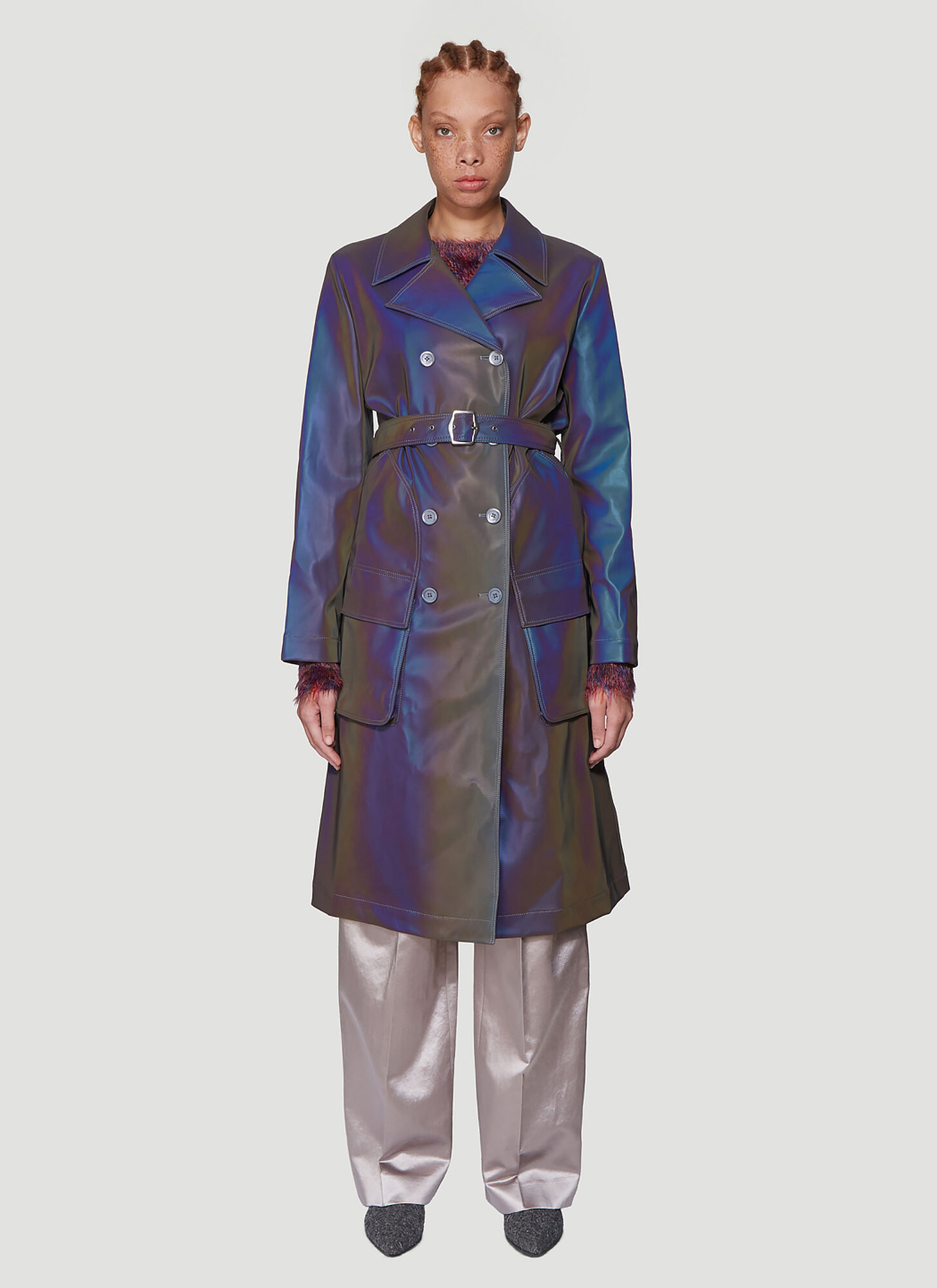 Sies Marjan Nisa Iridescent Trench Coat in Purple