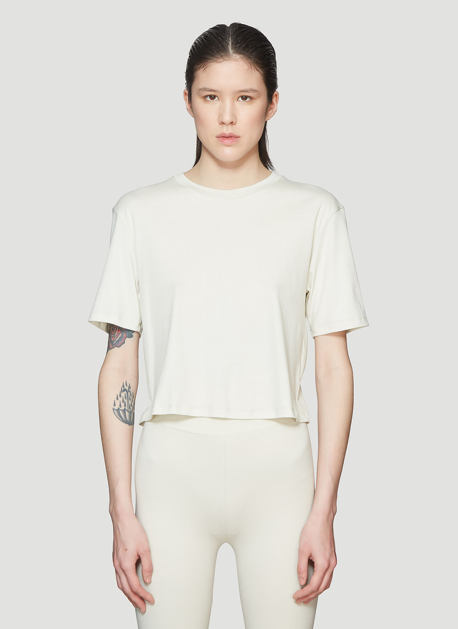 Roni Ilan Cropped T-Shirt in Beige