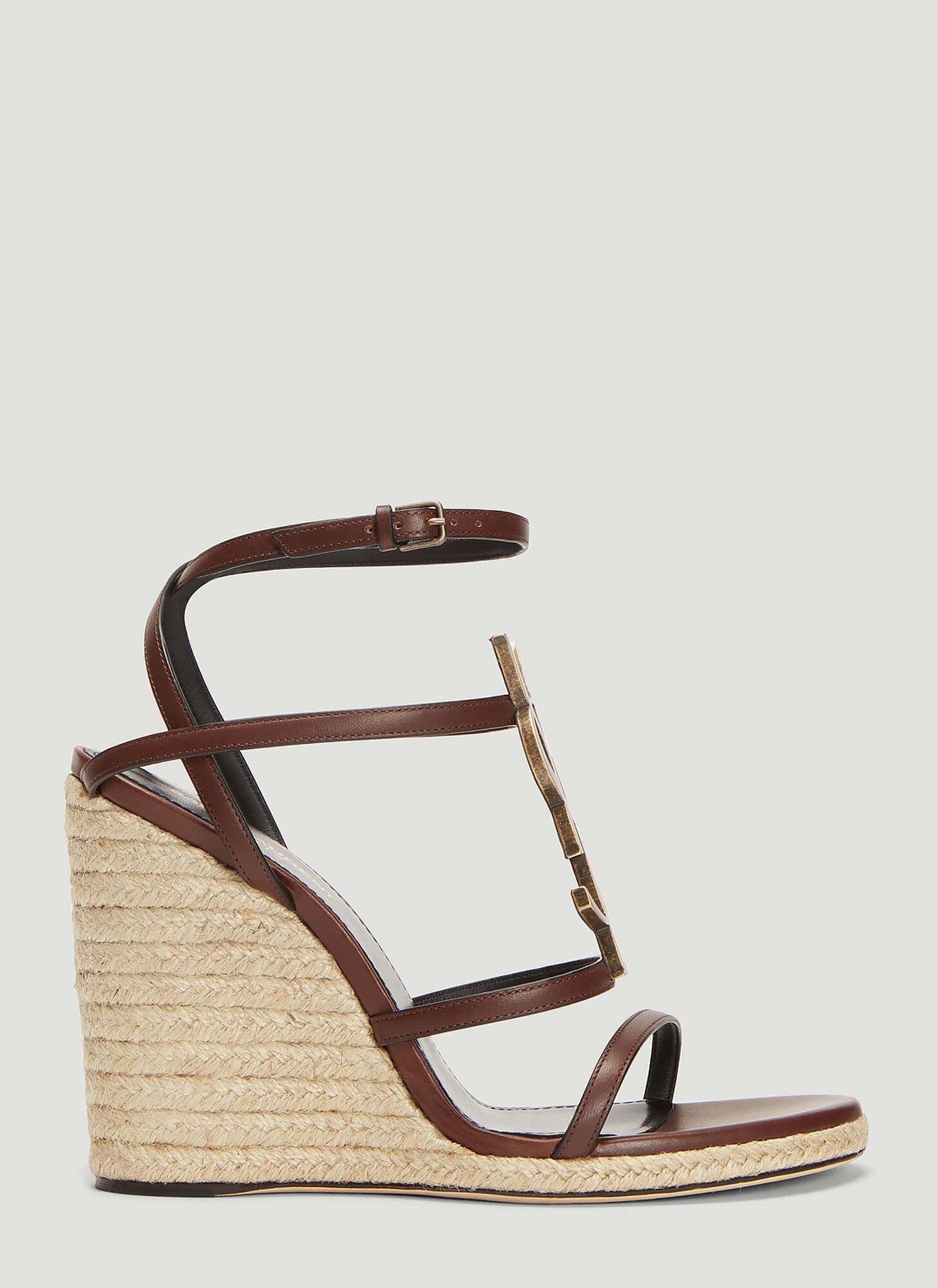 Saint Laurent Cassandra Espadrille Wedge Sandals in Brown