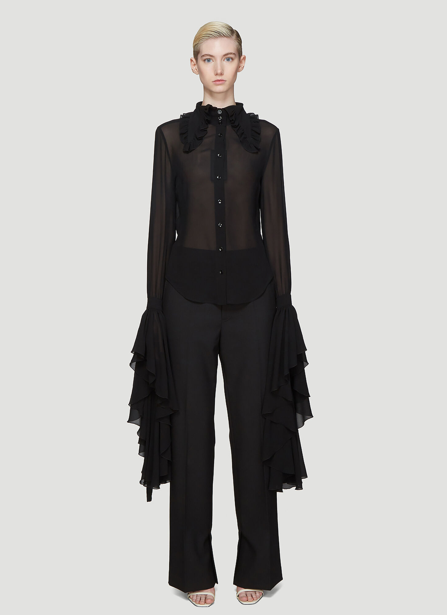 Saint Laurent Bell Sleeve Ruffle Collar Shirt in Black