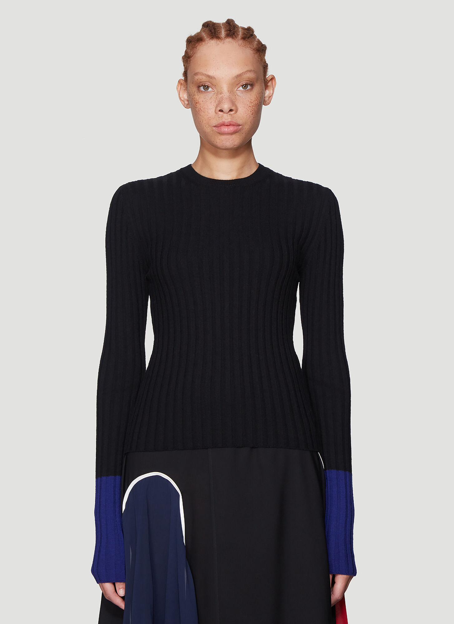 JW Anderson Ribbed Knit Sweater in Black