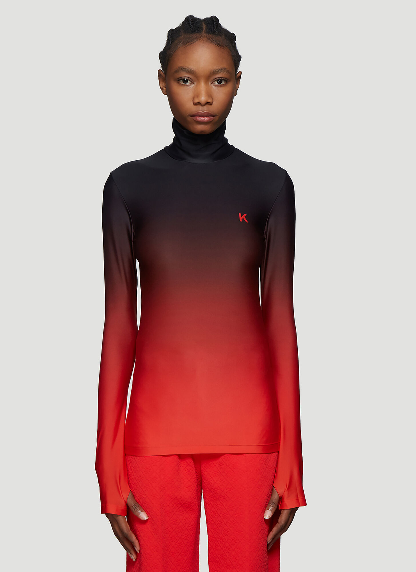 Kwaidan Editions Turtleneck Top in Red
