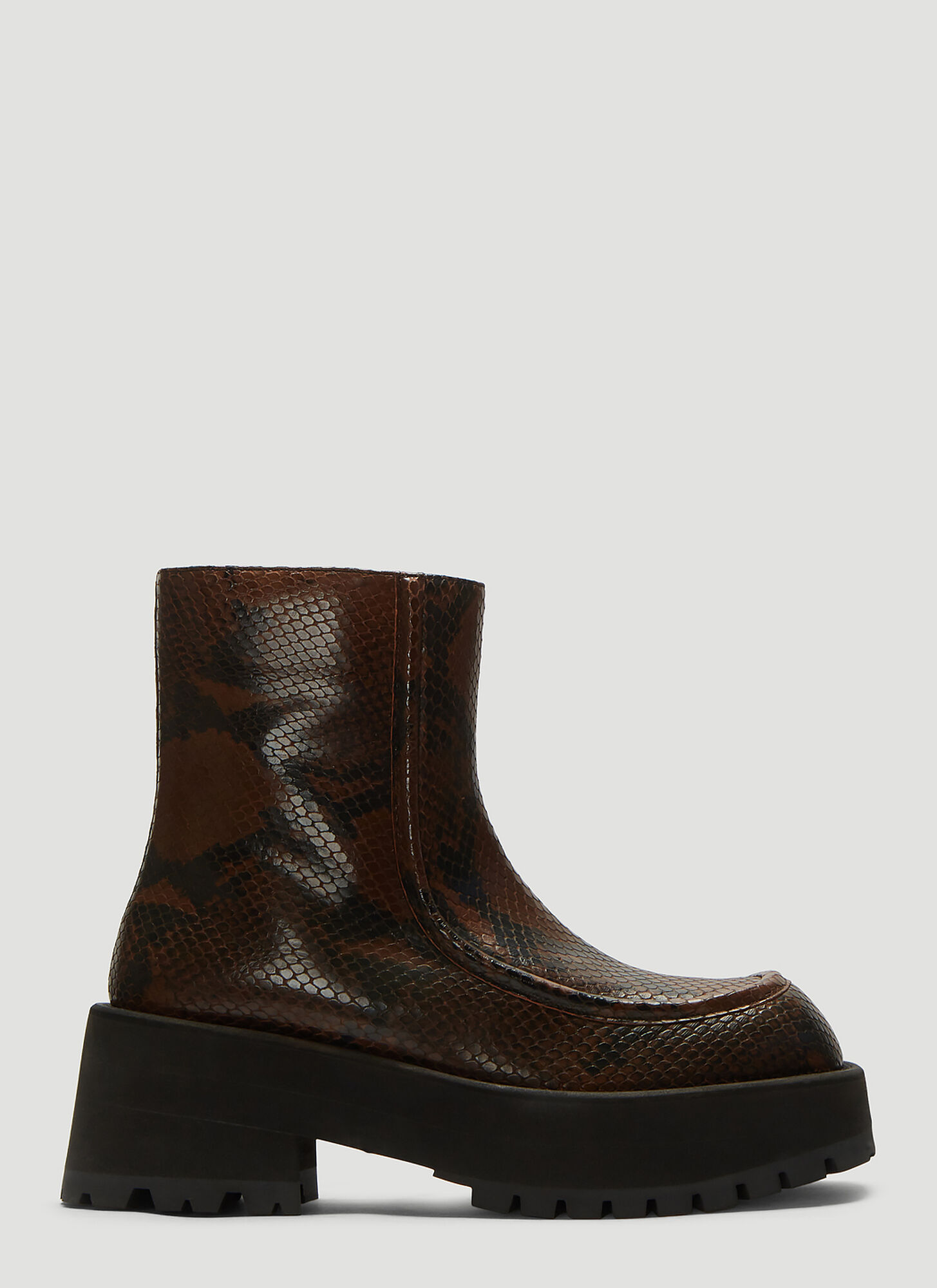 Marni Python Print Leather Boots in Brown