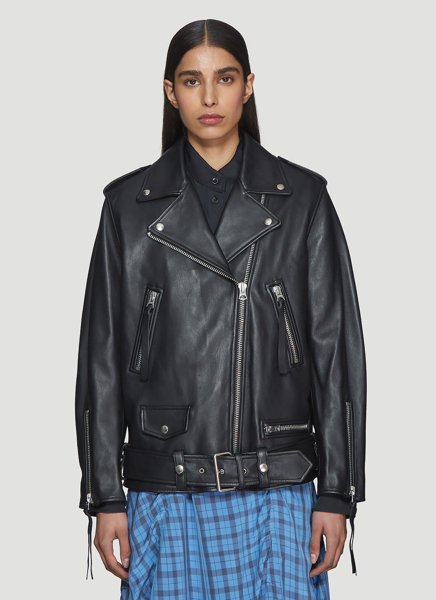 Acne Studios Oversized Leather Jacket In Black