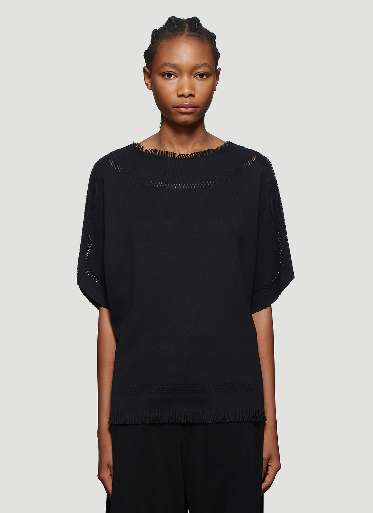 Issey Miyake Fringed-Trim Knitted Top in Black