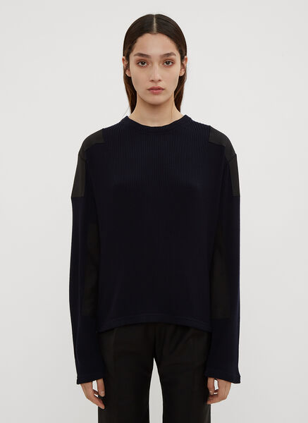 Atlein Military Ribbed Knit Sweater in Navy