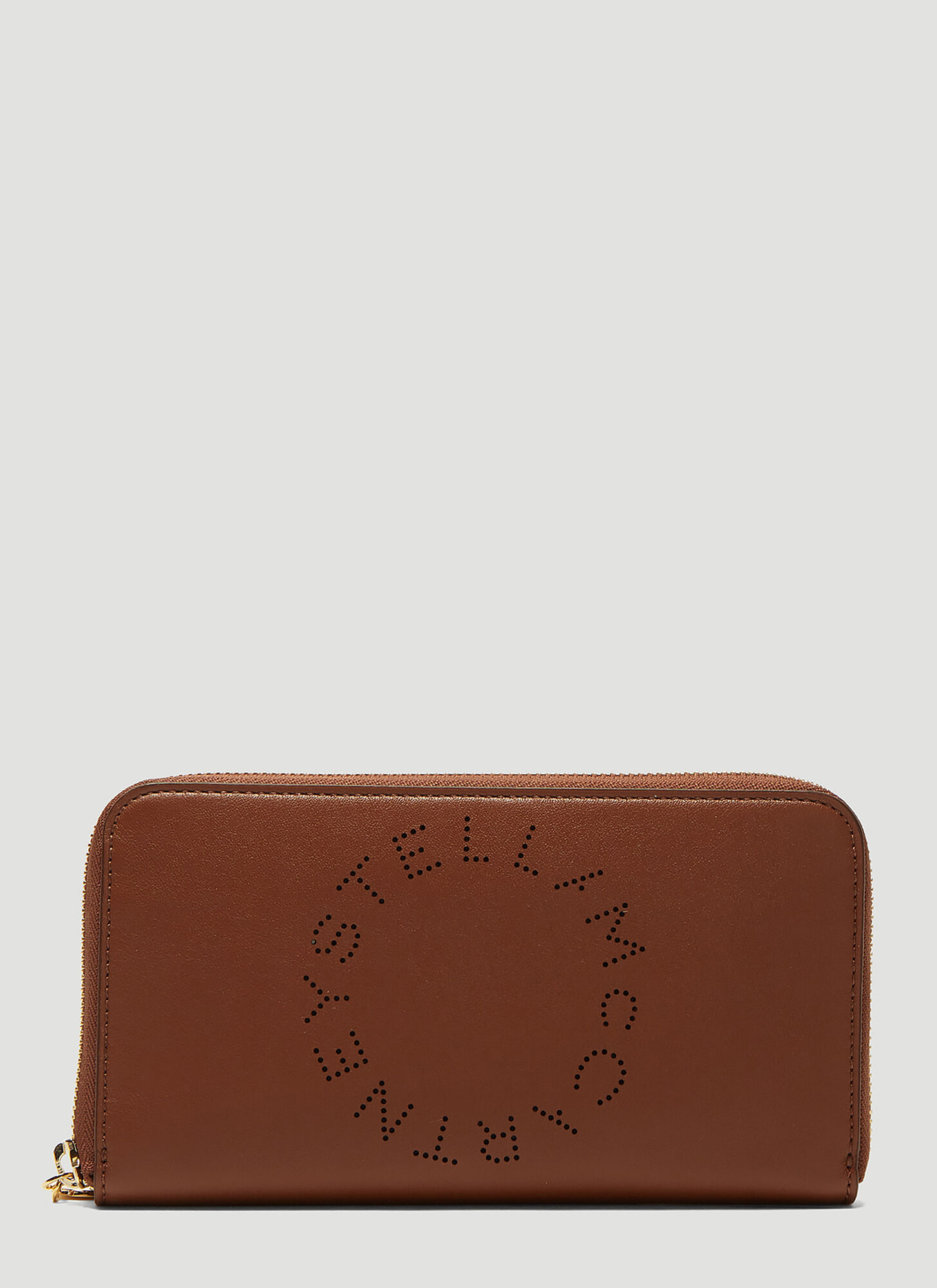 Stella McCartney Perforated Logo Zip-Around Wallet in Brown