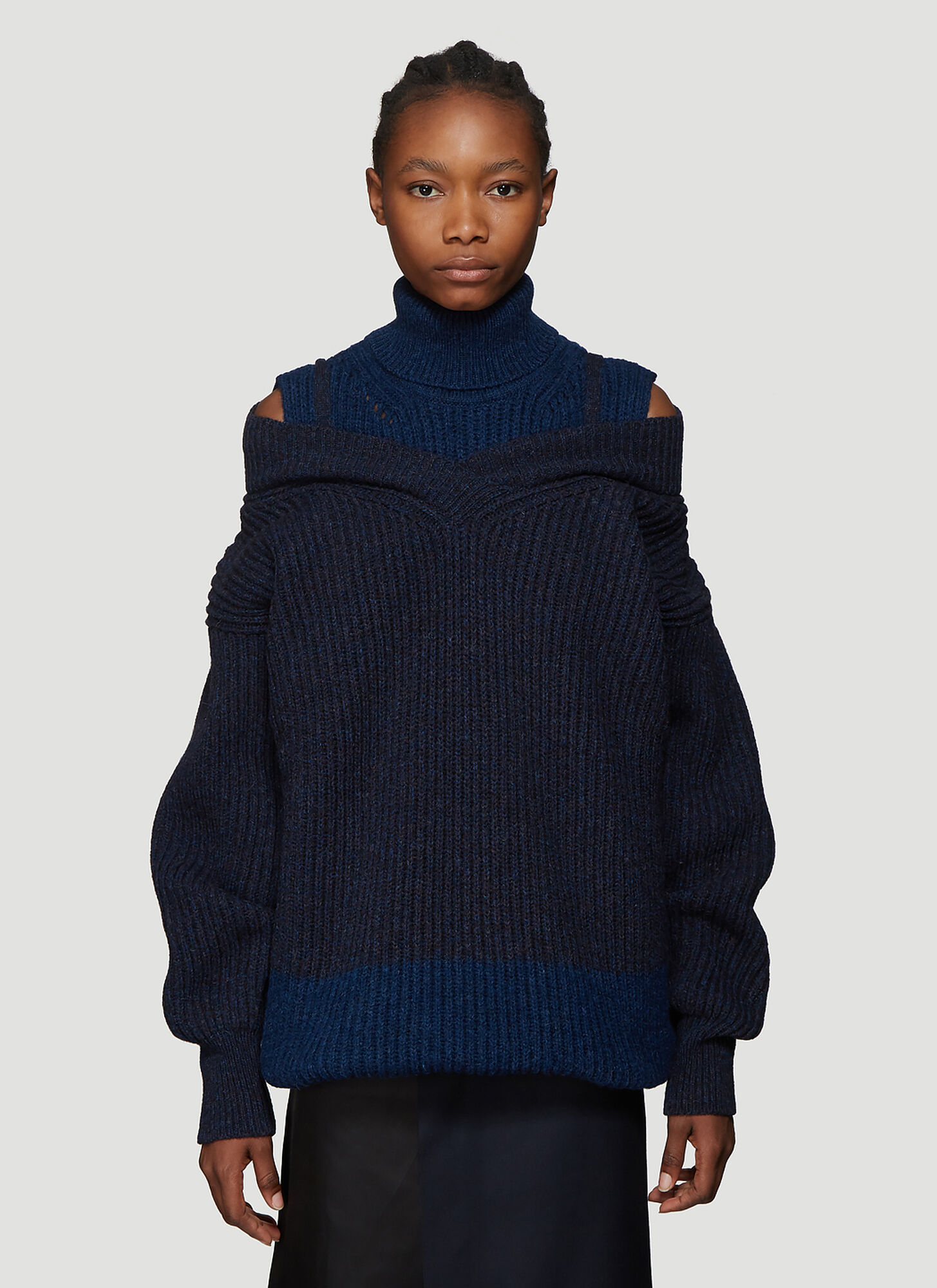 Maison Margiela Double Layer Turtleneck Sweater in Blue